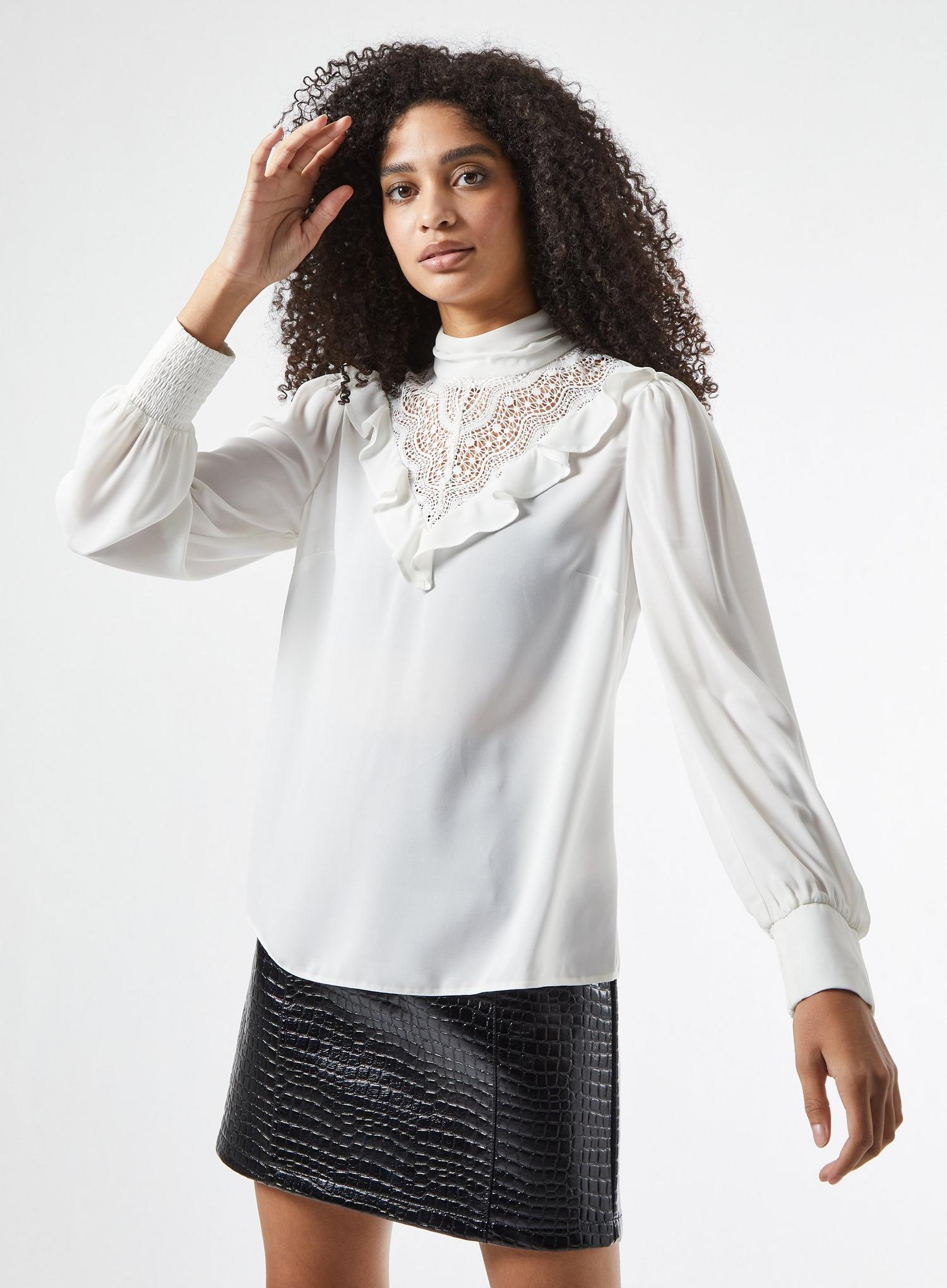 173 White Lace Victoriana Blouse image number 1