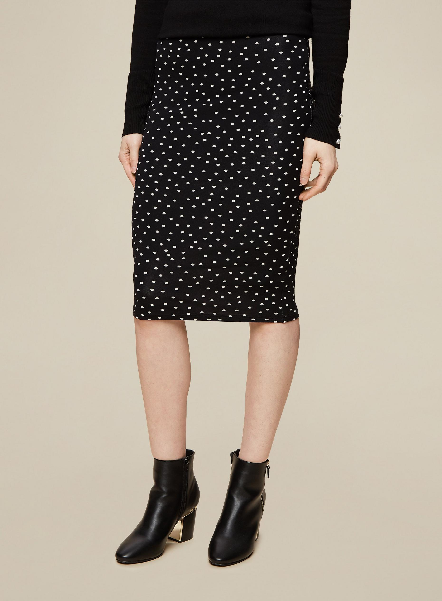Tall Black Spot Print Midi Skirt