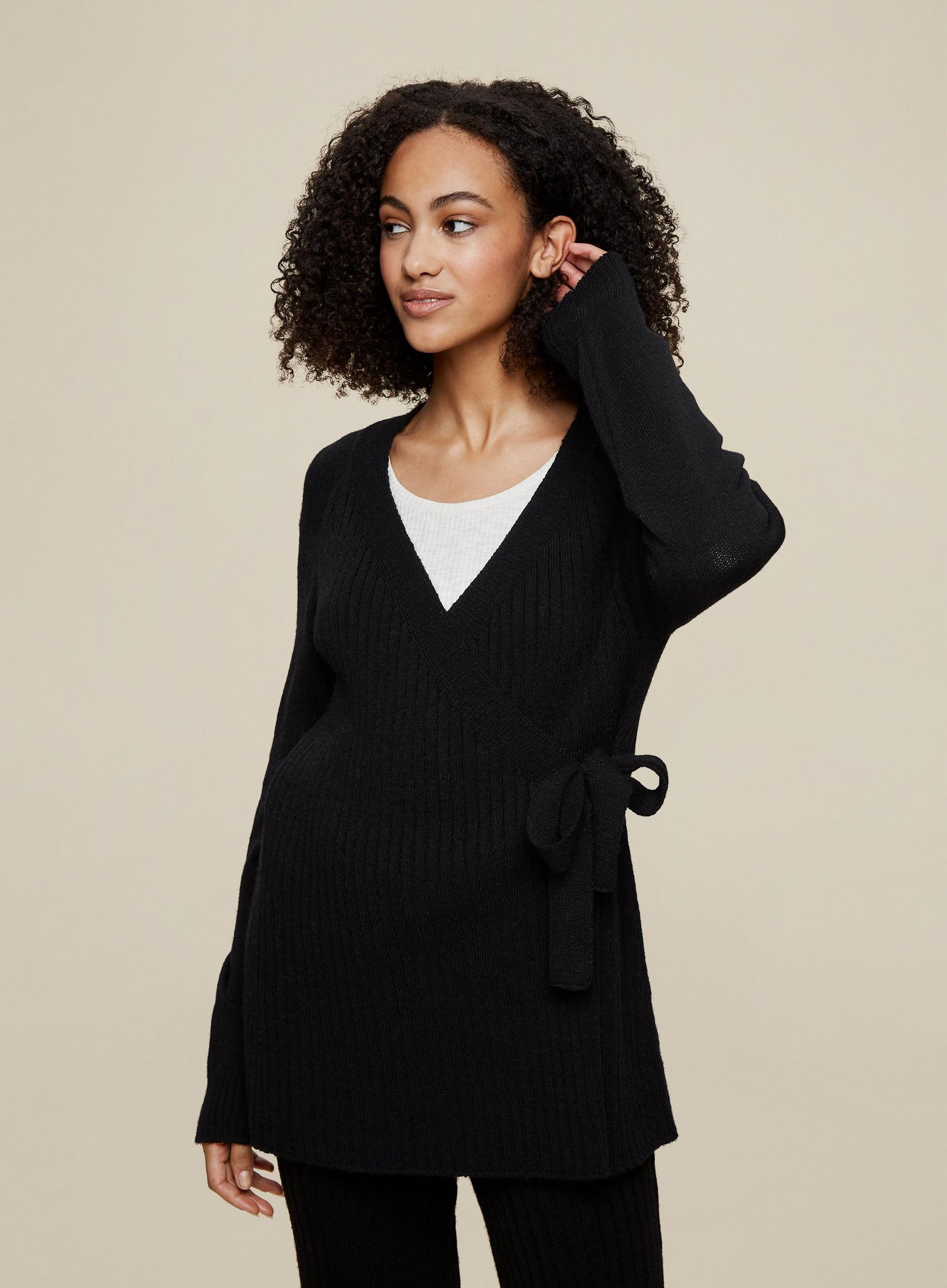 Tall Black Wrap Style Knitted Cardigan