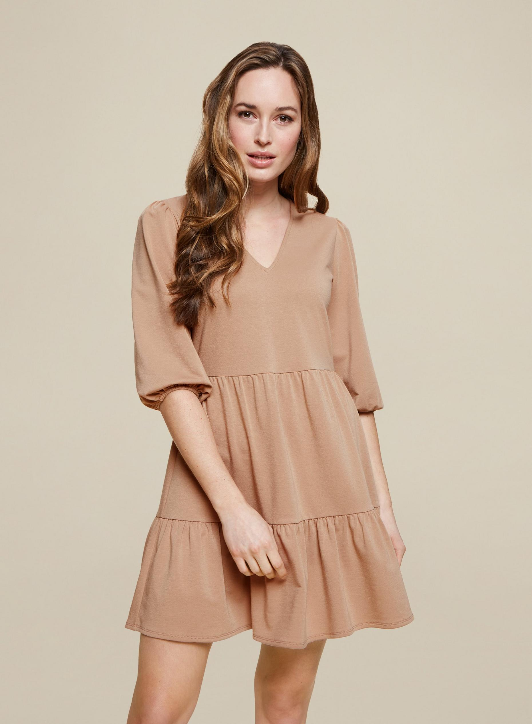 Camel Jersey Mini Smock Dress