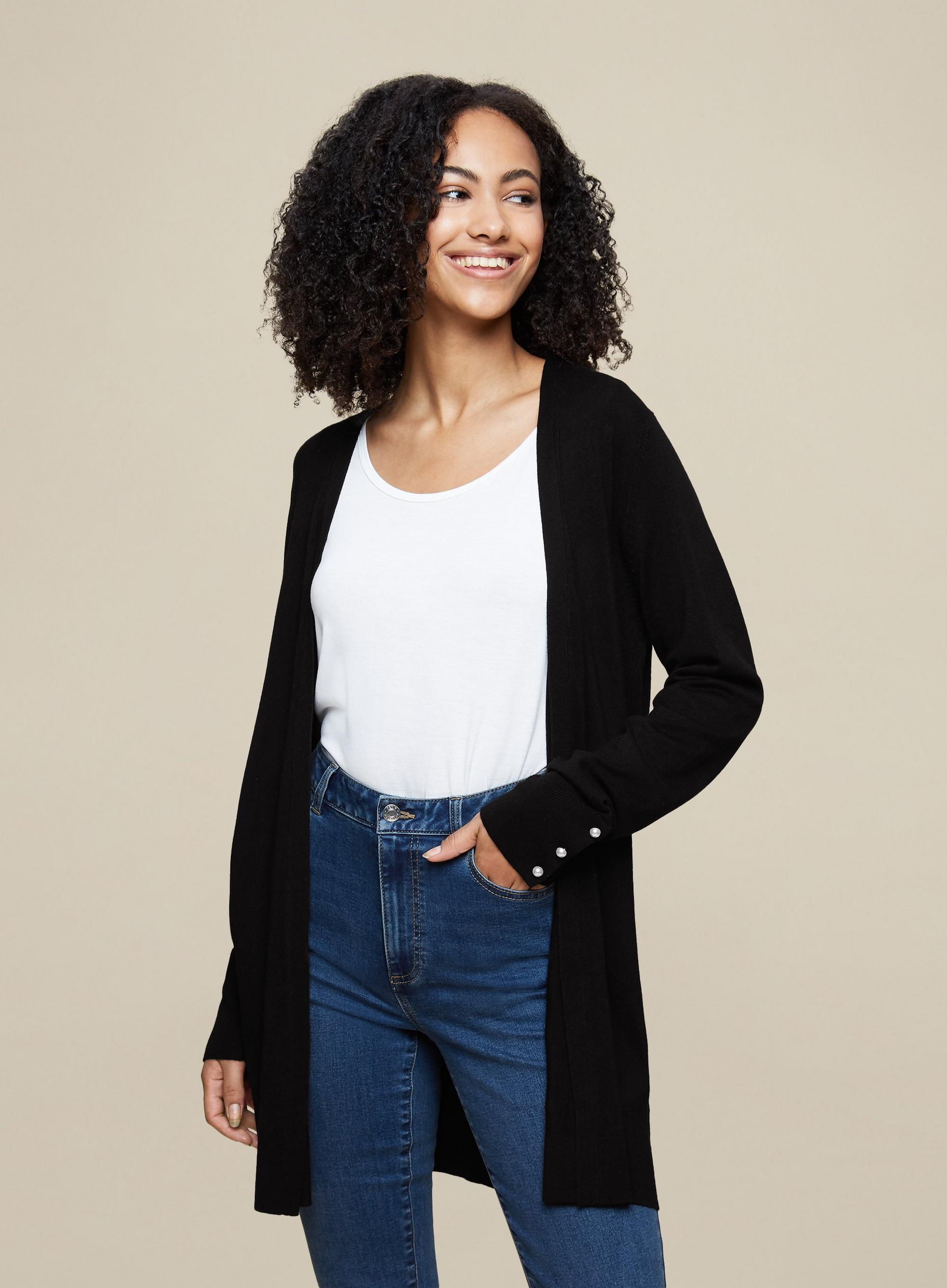 Tall Black Pearl Sleeve Cardigan