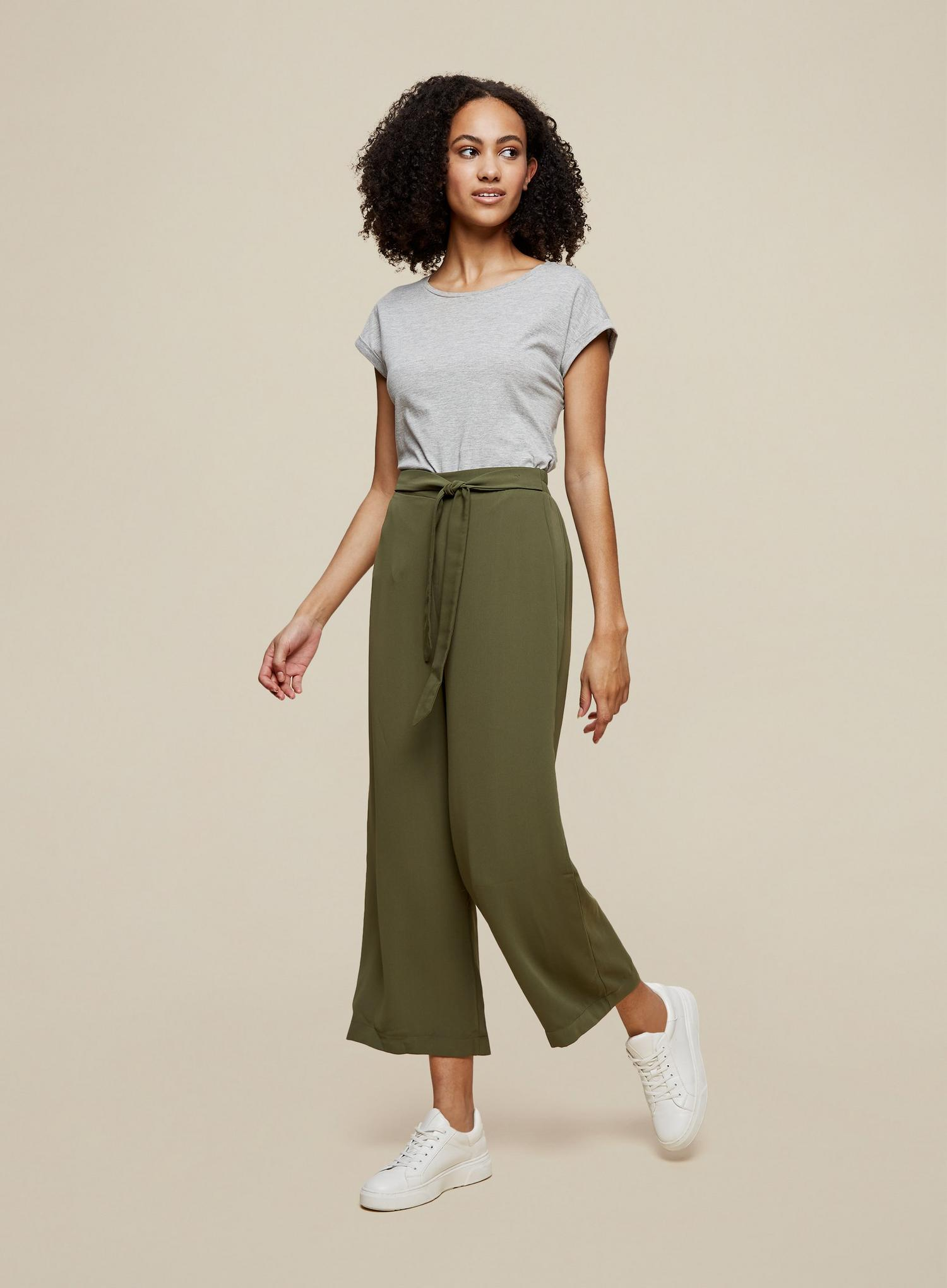 130 Tall Khaki Cropped Palazzo Trousers image number 1