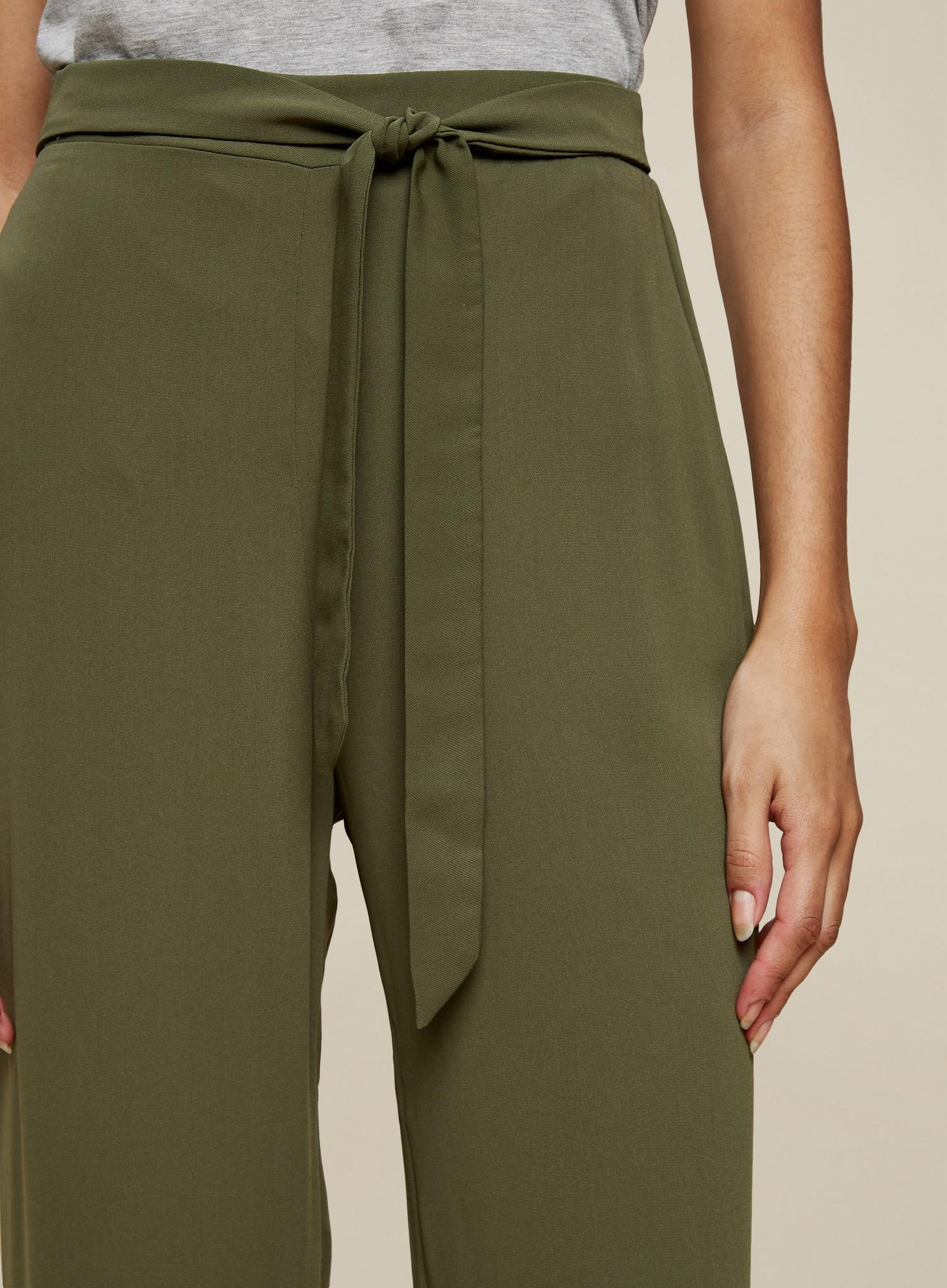 130 Tall Khaki Cropped Palazzo Trousers image number 3
