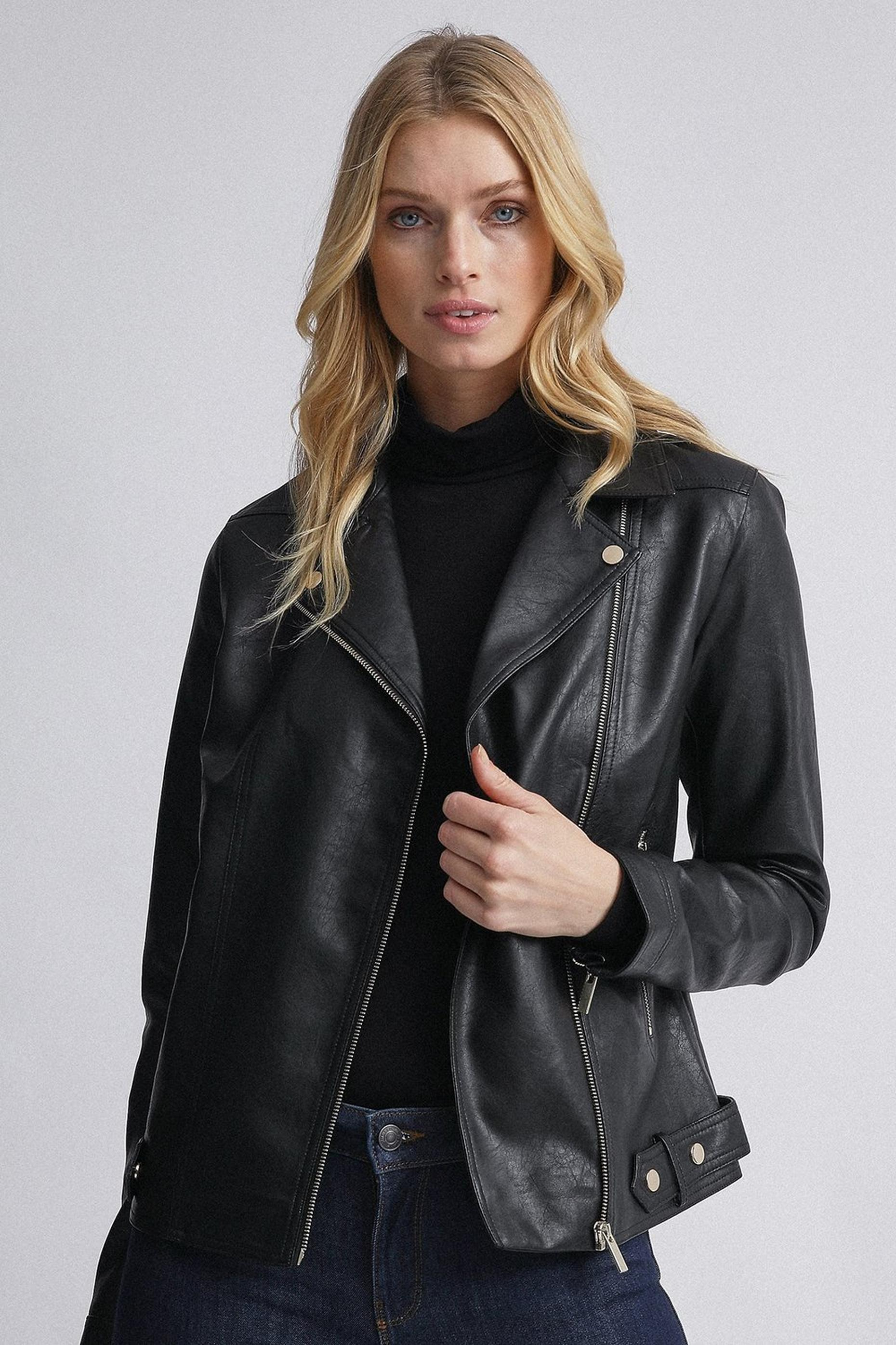 Tall Black PU Biker Jacket