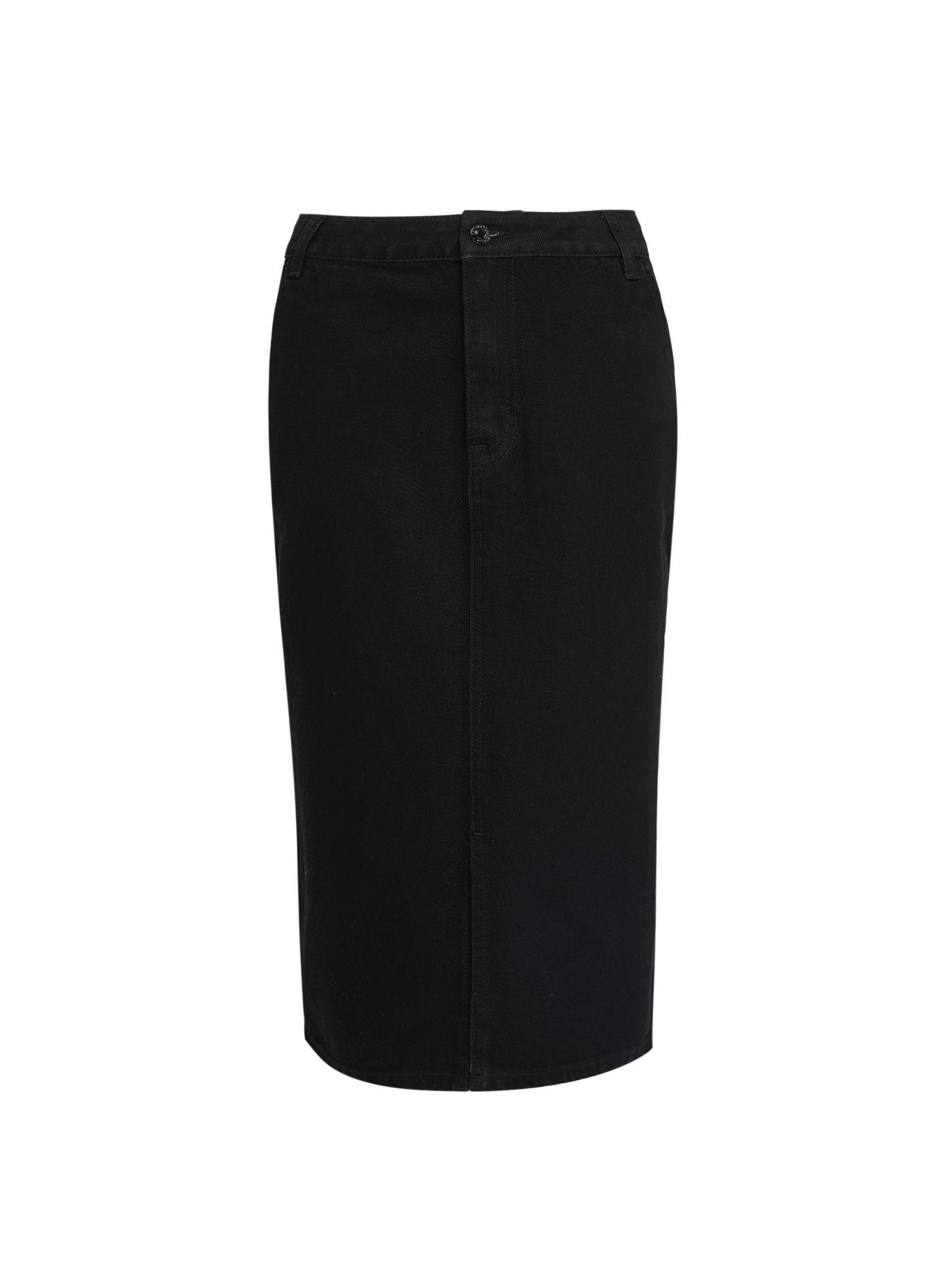 105 Tall Black Denim Midi Skirt  image number 4
