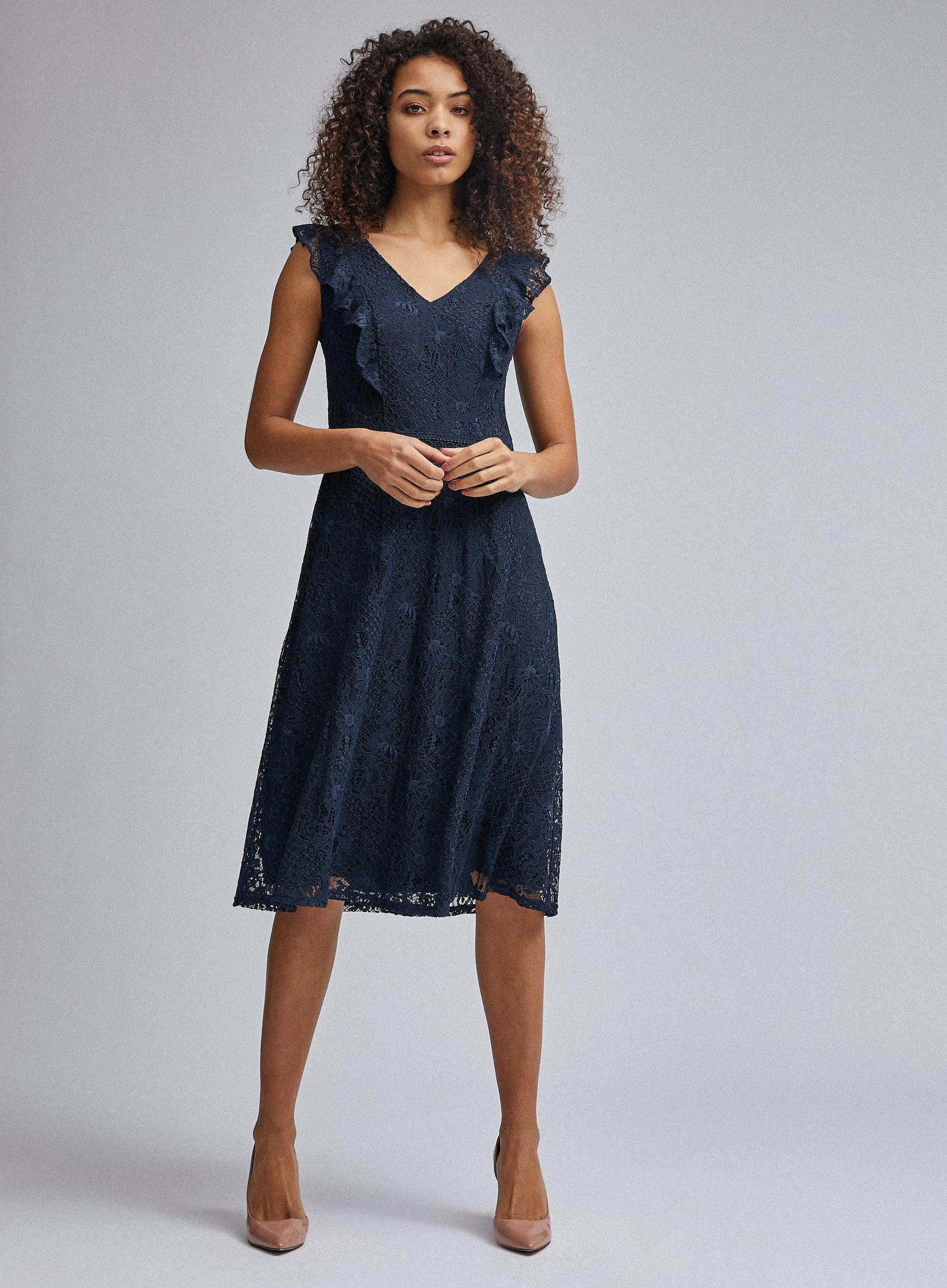 Tall Navy Ruffle Skater Dress
