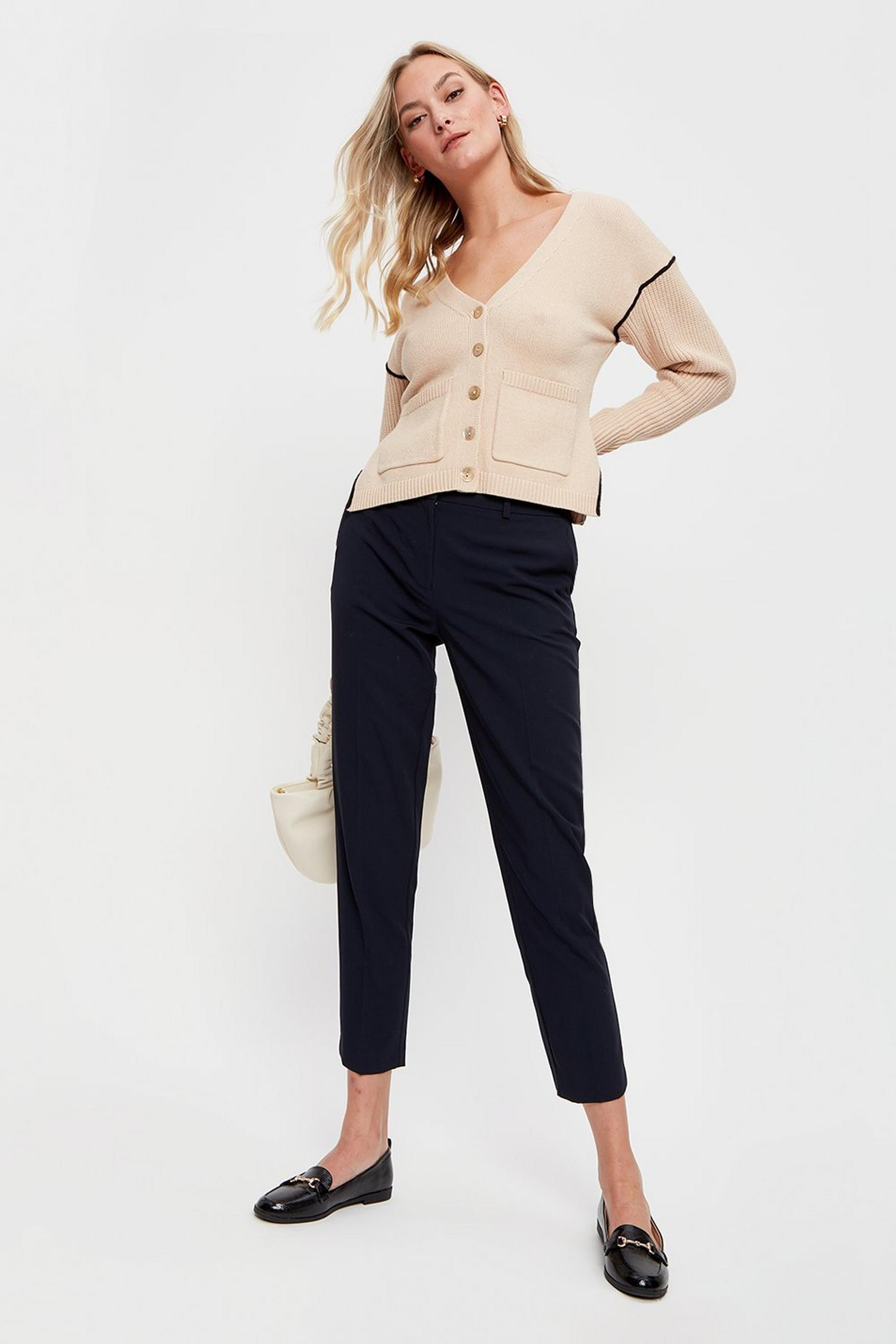 Tall Navy Ankle Grazer Trousers