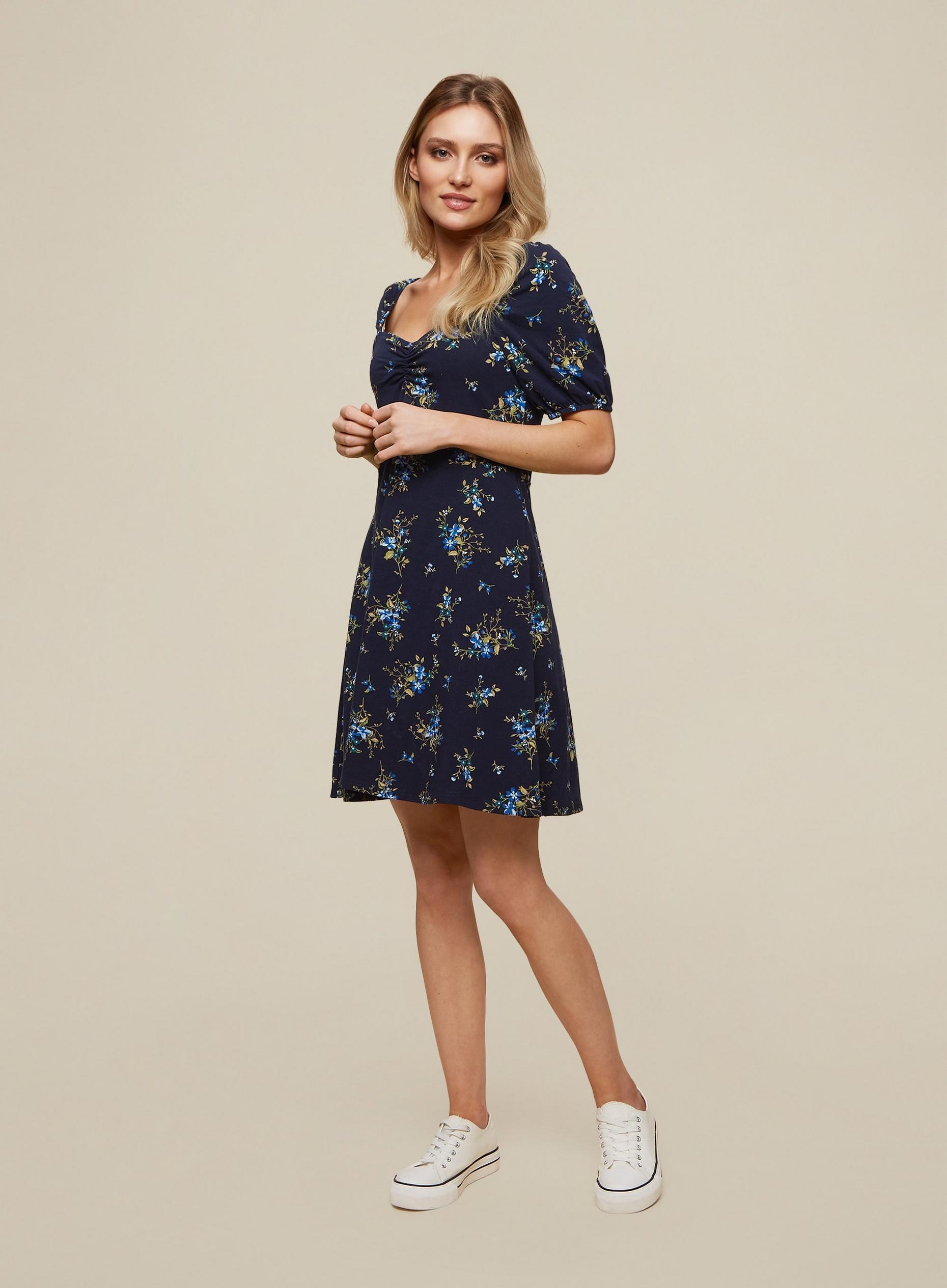 Blue Ditsy Bubble Fit and Flare Dress