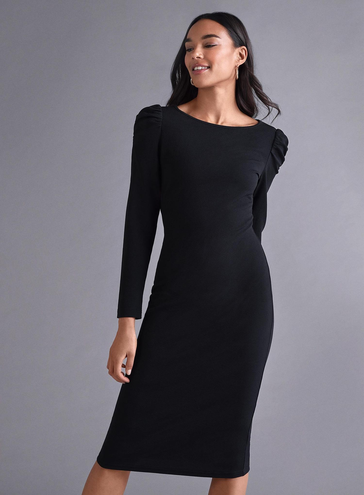 105 Black Ruched Bodycon Dress image number 1