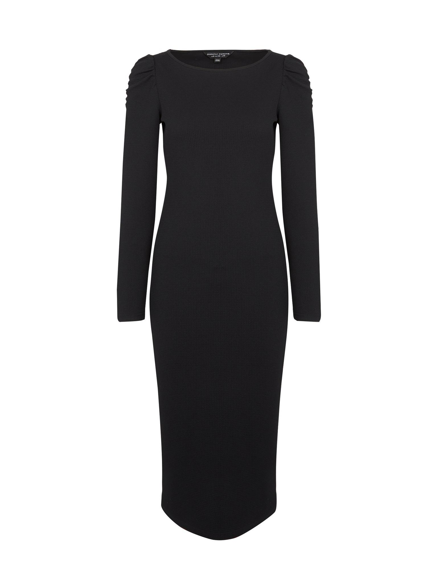 105 Black Ruched Bodycon Dress image number 2
