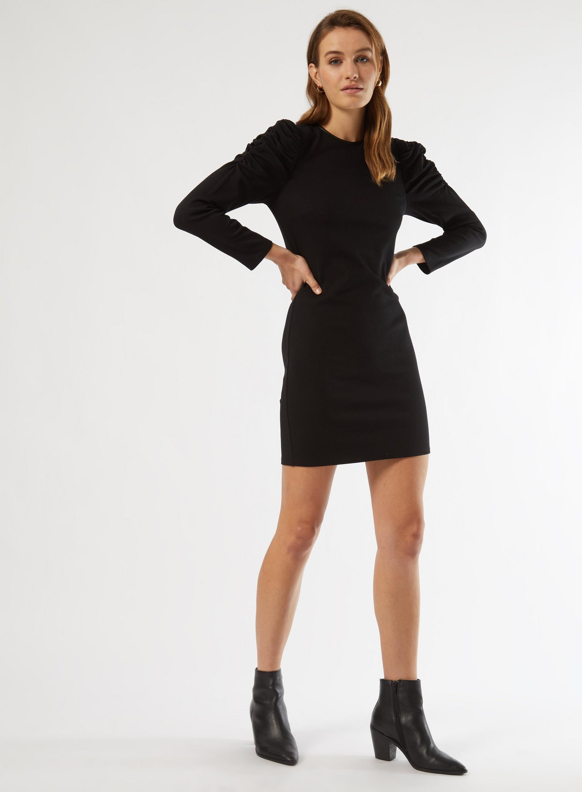 Black Ruched Sleeve Shift Dress
