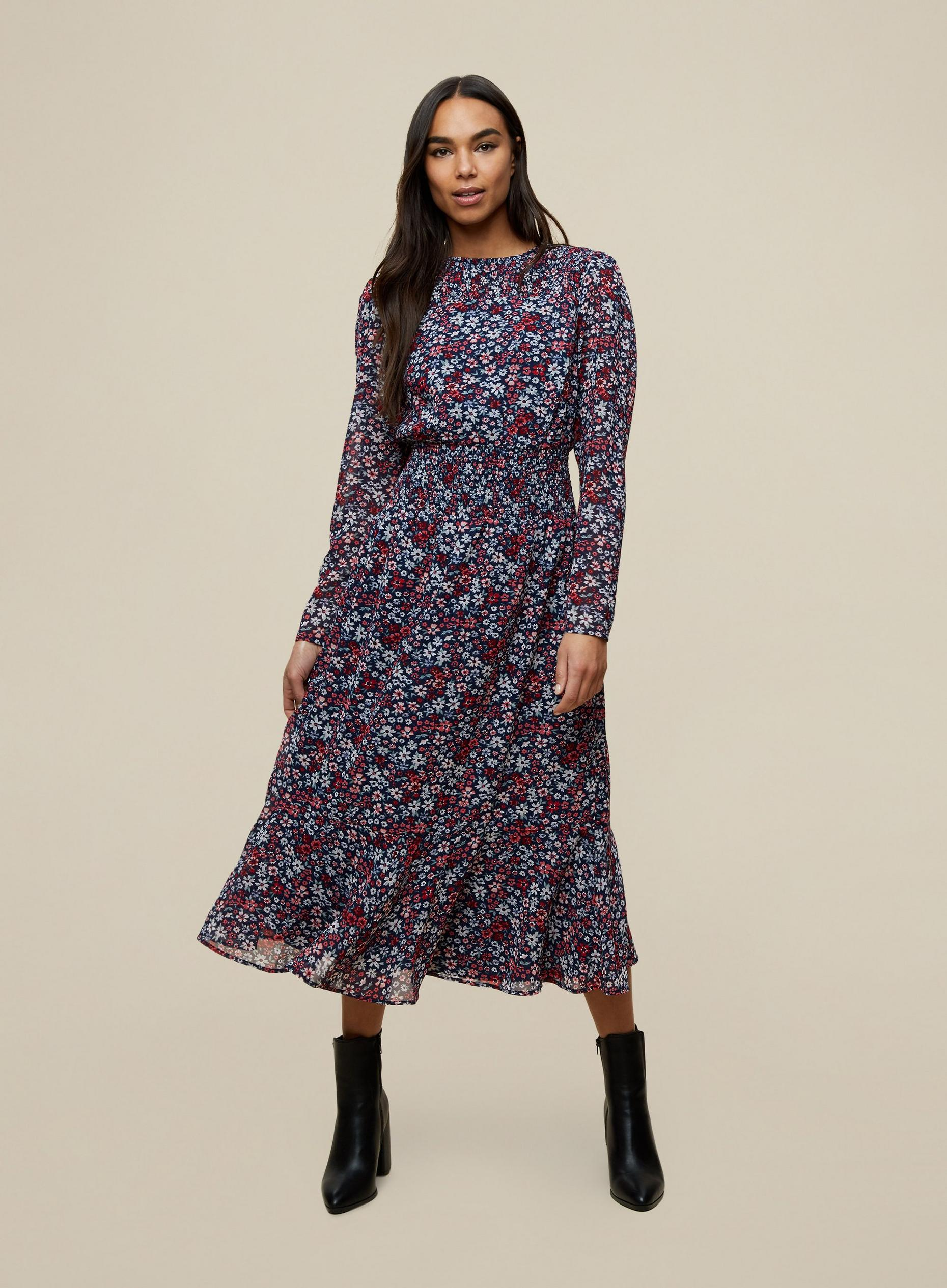 Floral Shirred Midi Dress
