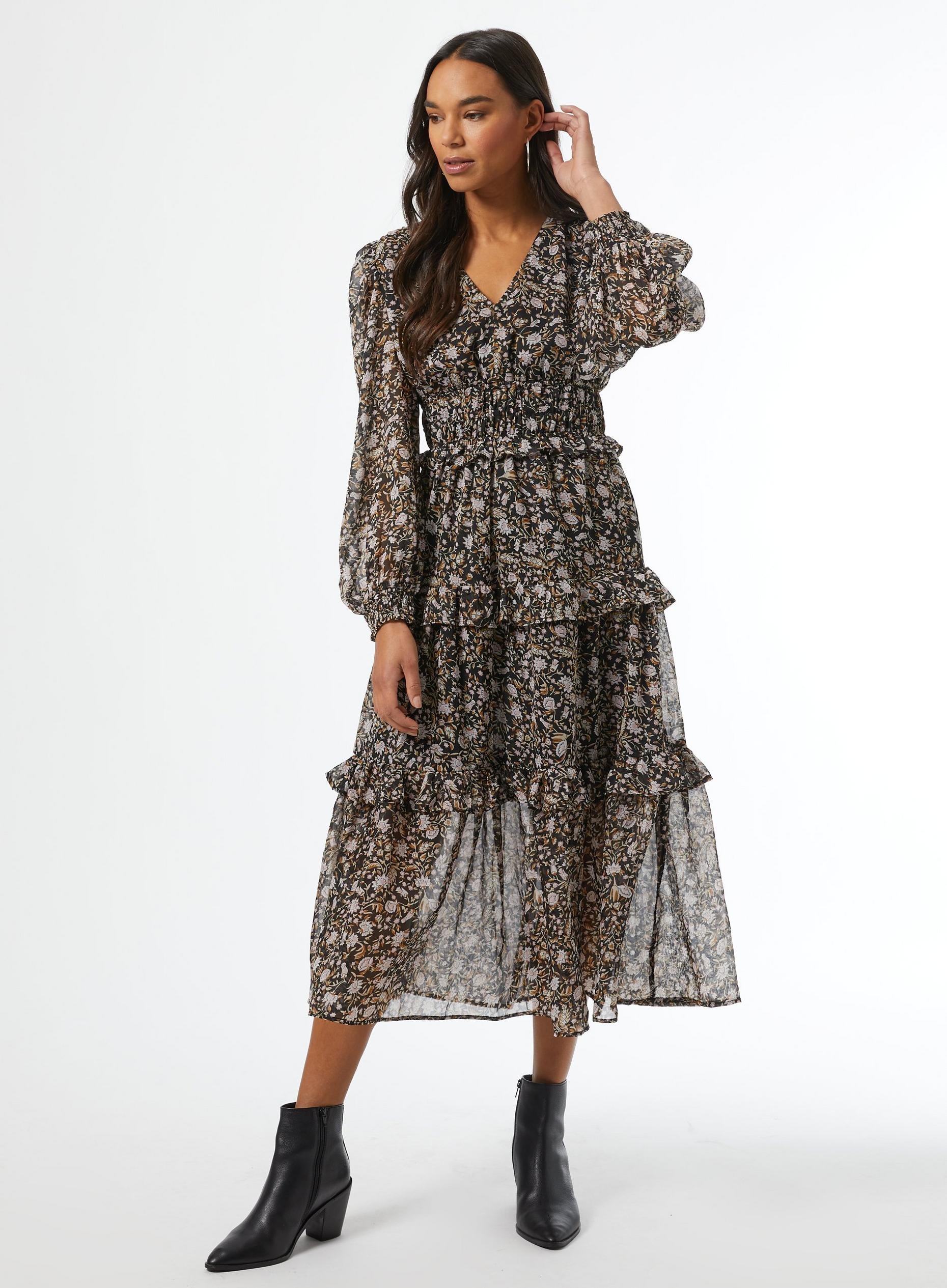 Black Floral Print Shirred Midaxi Dress
