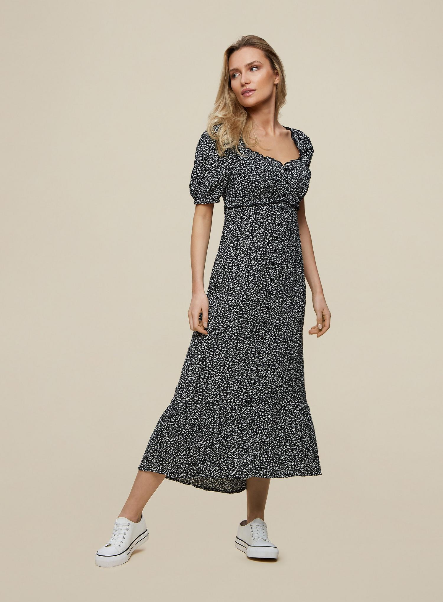 105 Monochrome Ditsy Print Crinkle Dress image number 1