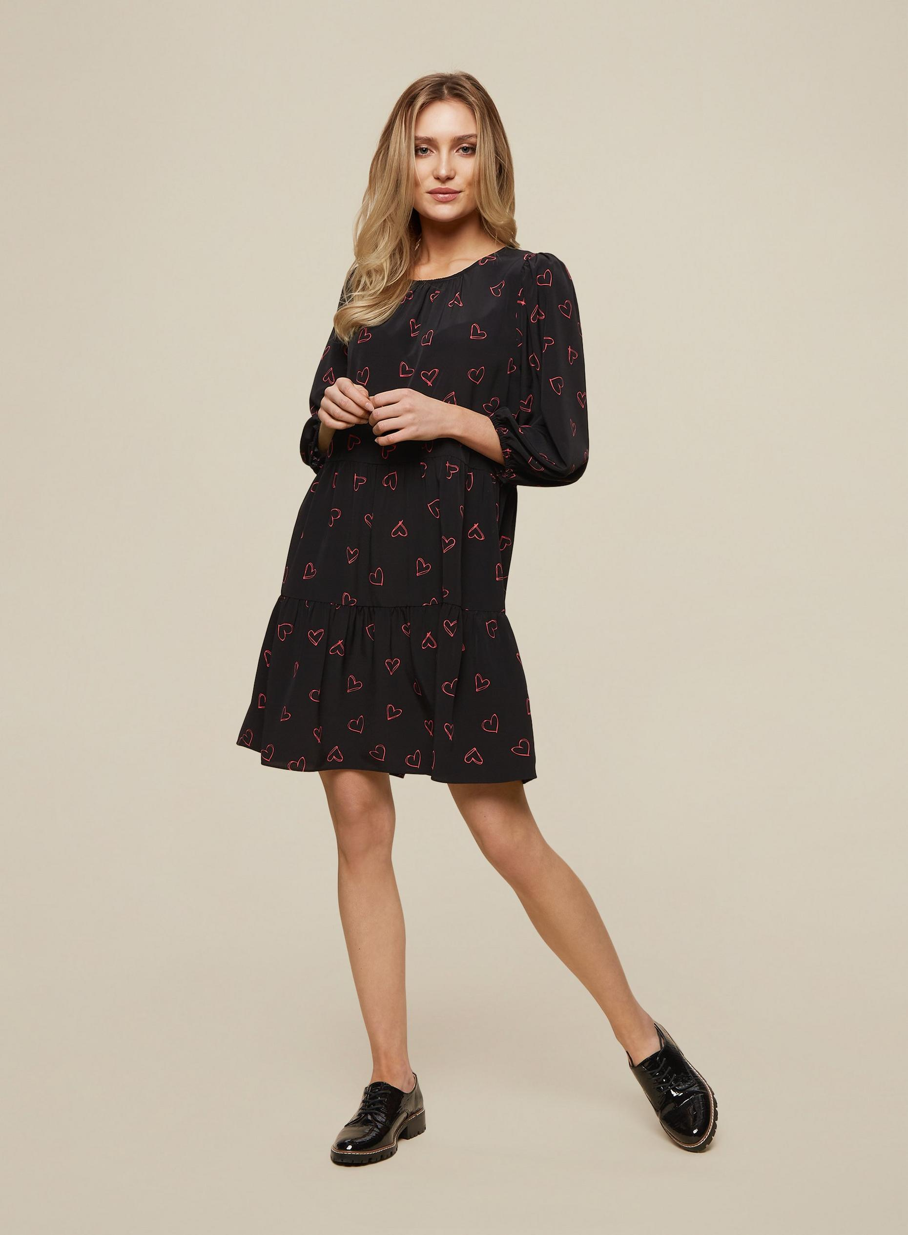 Black Heart Print Smock Dress
