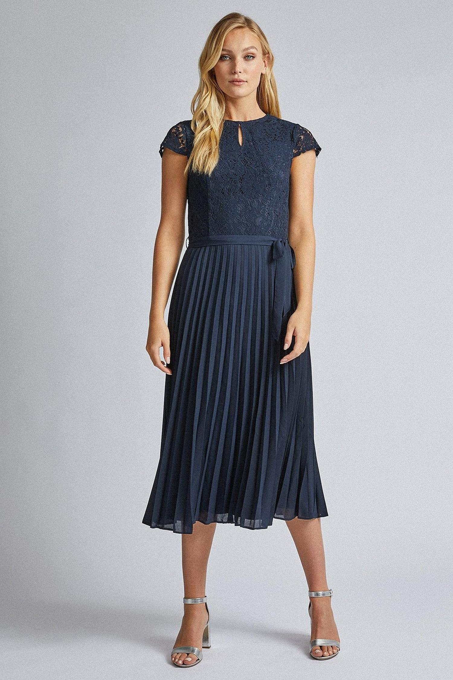 148 Tall Navy Blue Lace Pleated Dress image number 1
