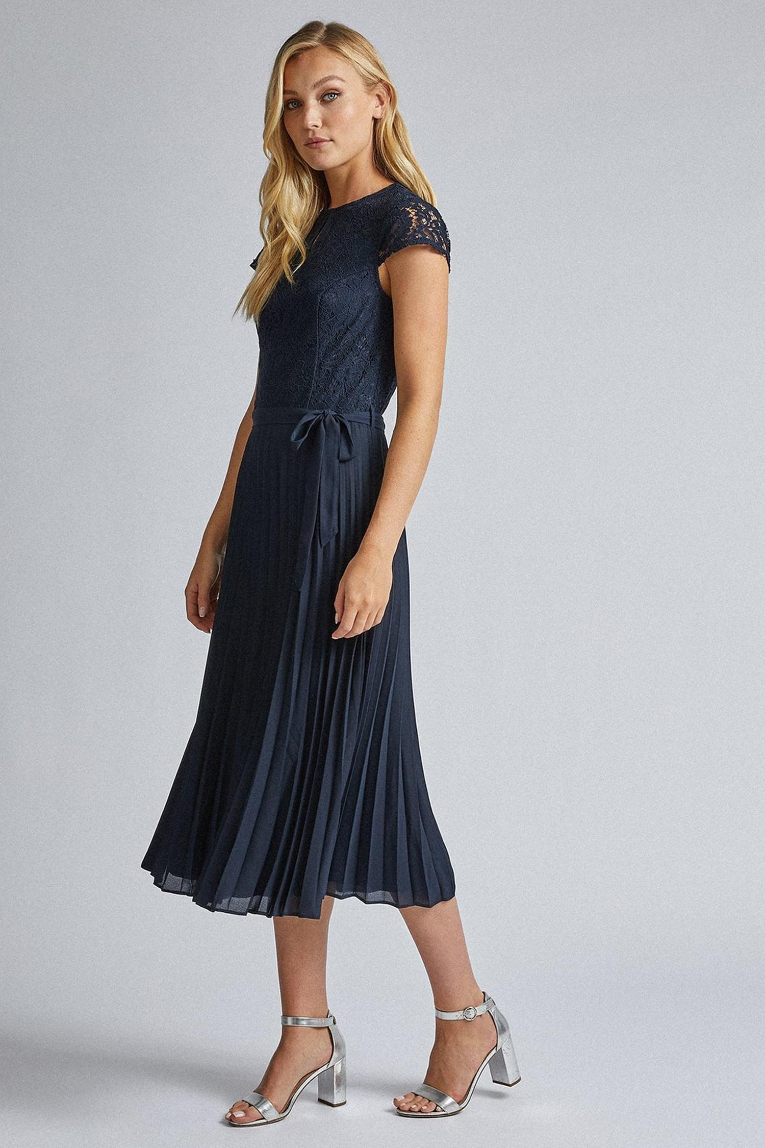 148 Tall Navy Blue Lace Pleated Dress image number 2