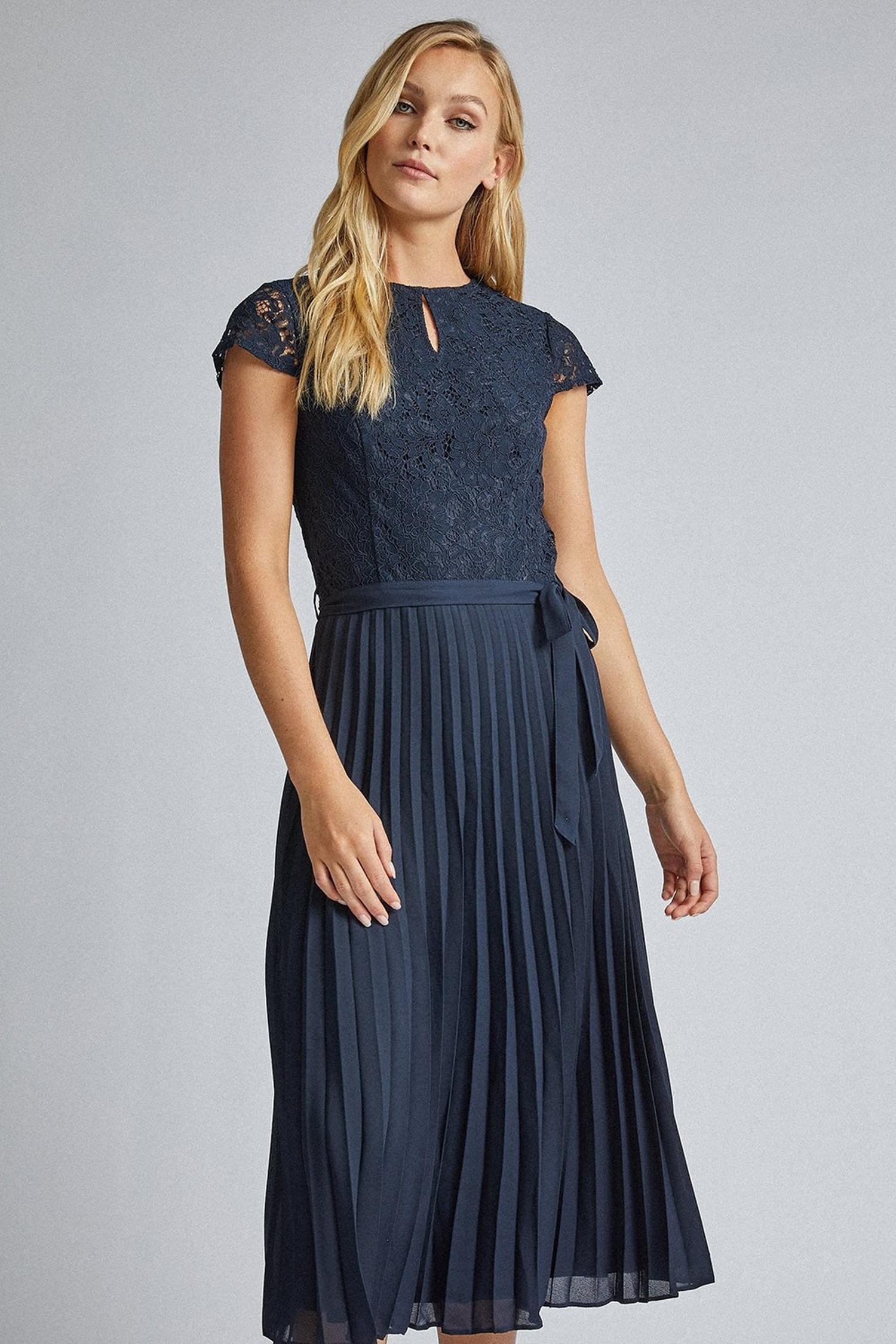 148 Tall Navy Blue Lace Pleated Dress image number 3