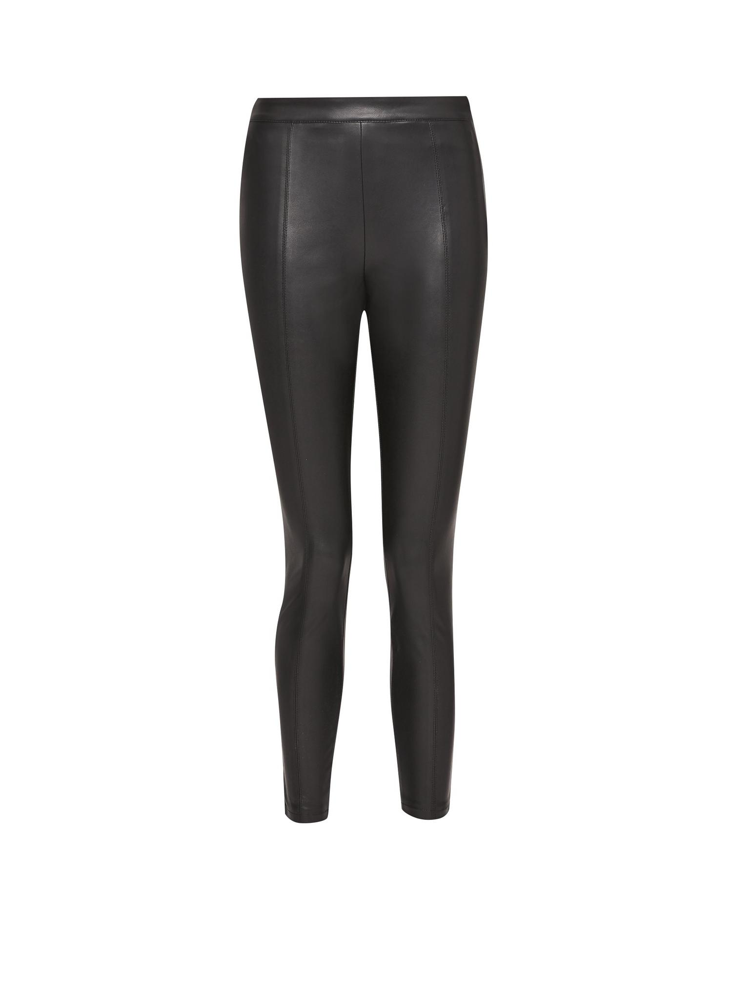 105 Petite Black PU Treggings image number 2