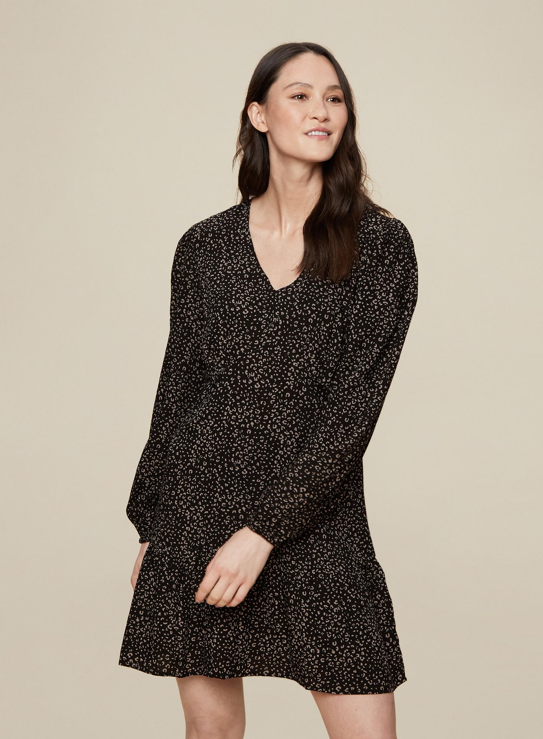 Tall Black Printed Smock Dress