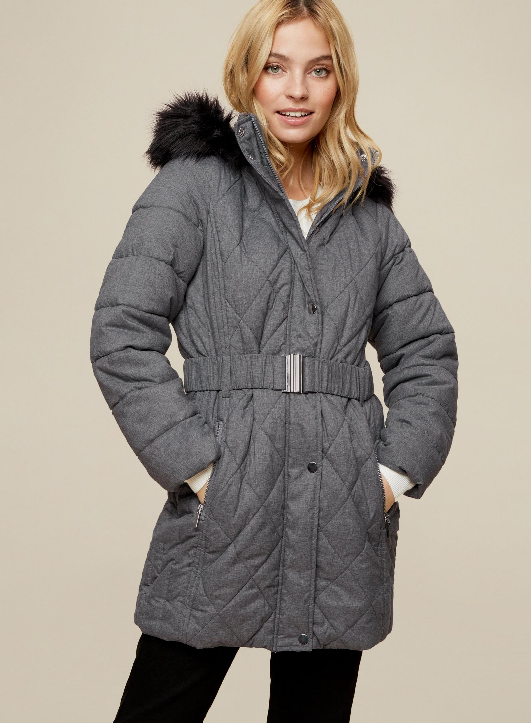 DP Petite Grey Long Quilted Coat