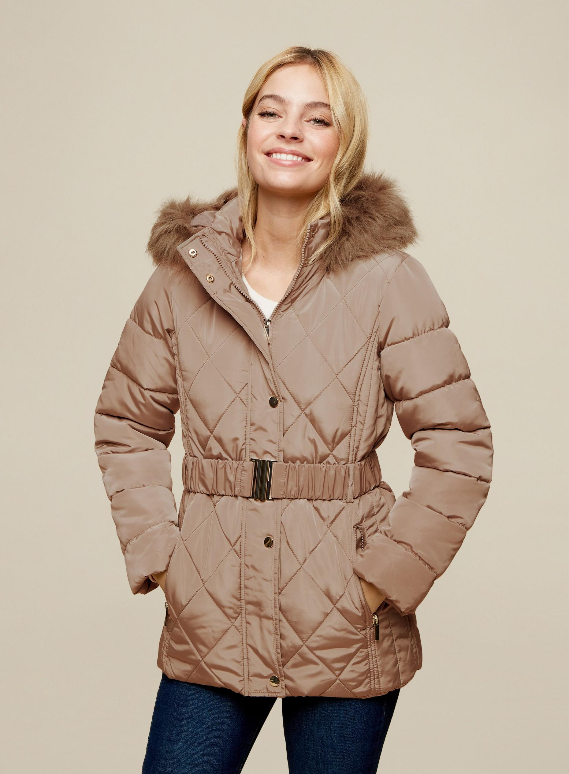 DP Petite Taupe Quilted Coat