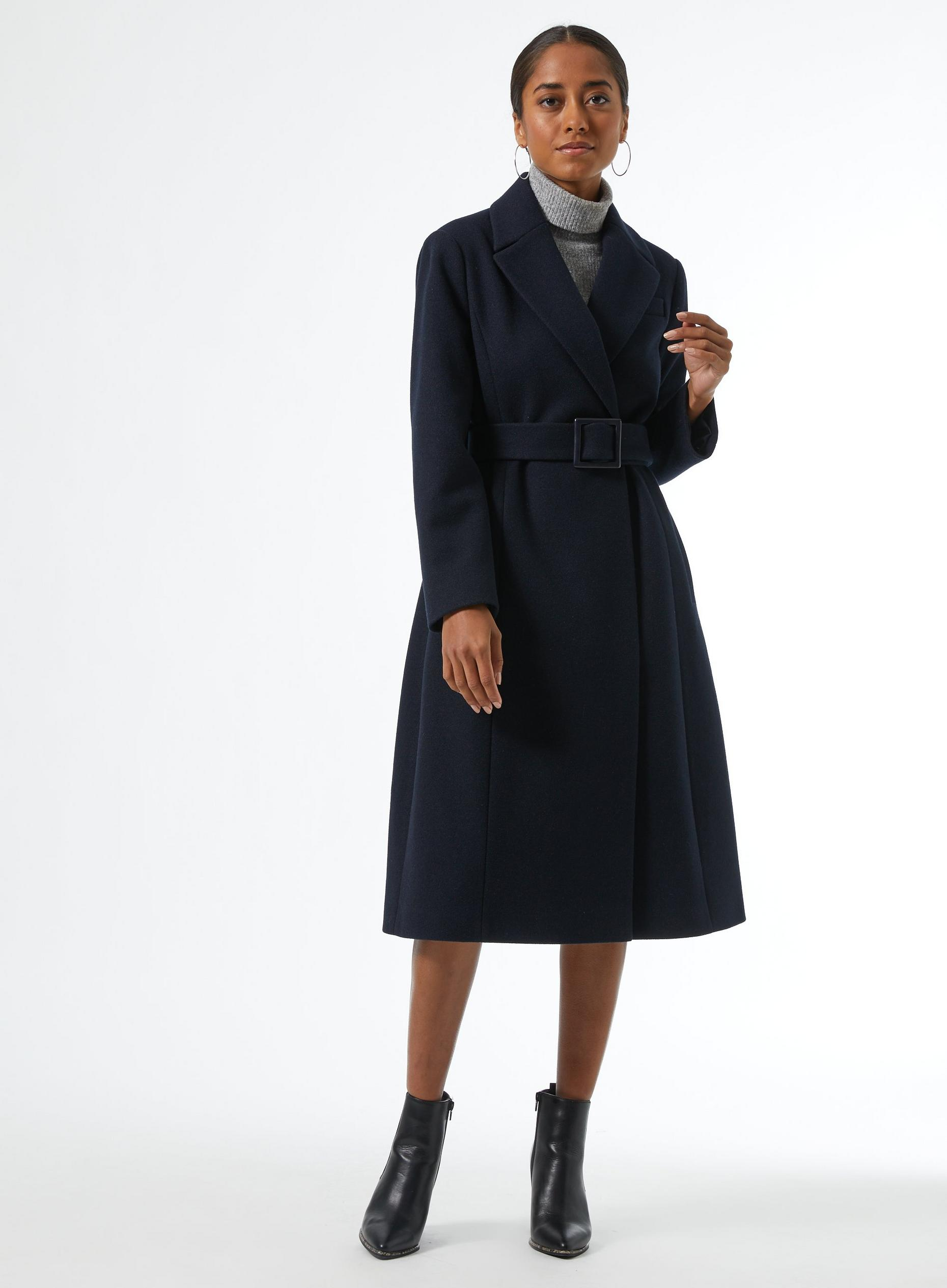 DP Petite Navy Belted Wrap Coat