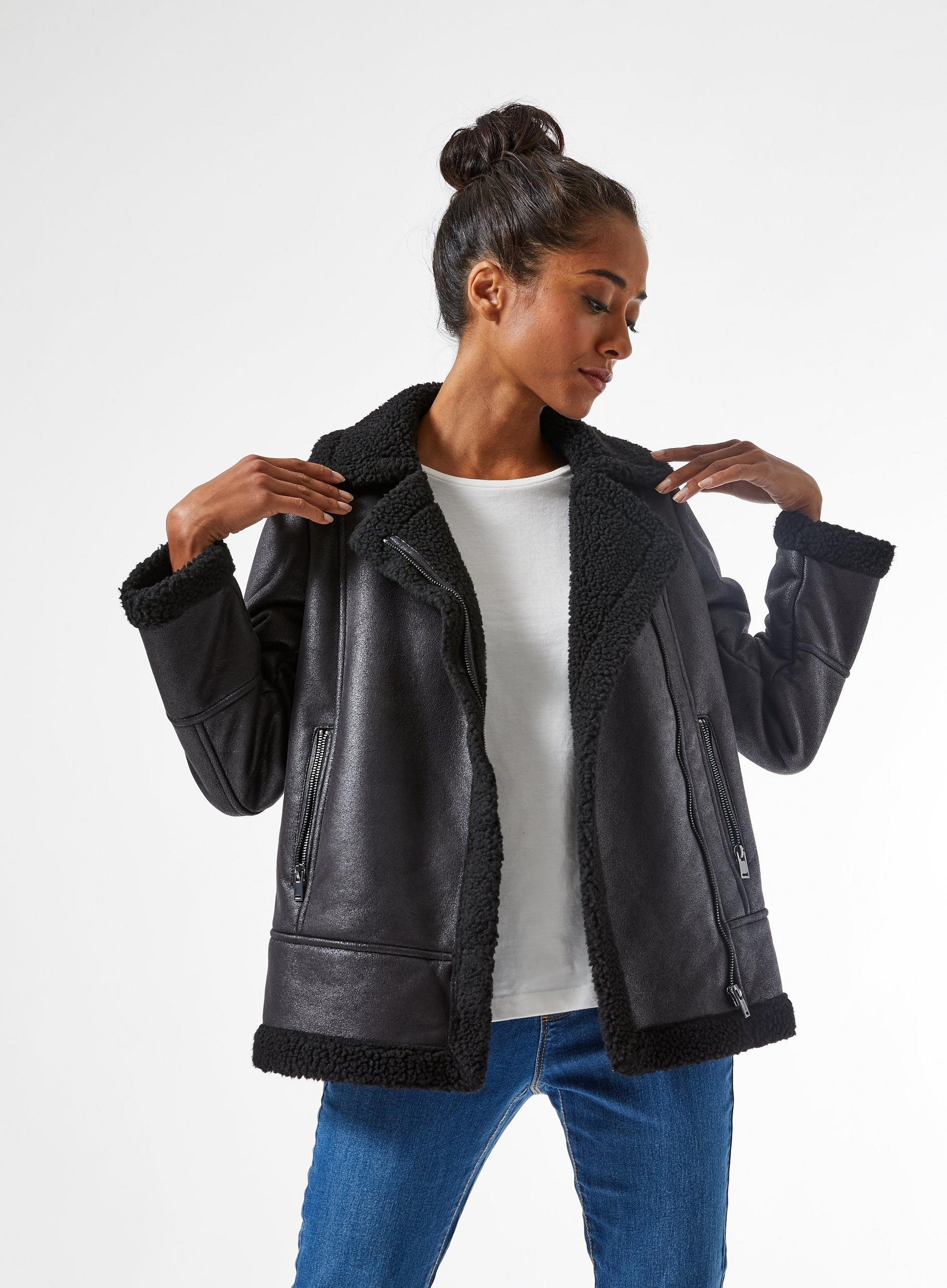 Petite Black Aviator Jacket