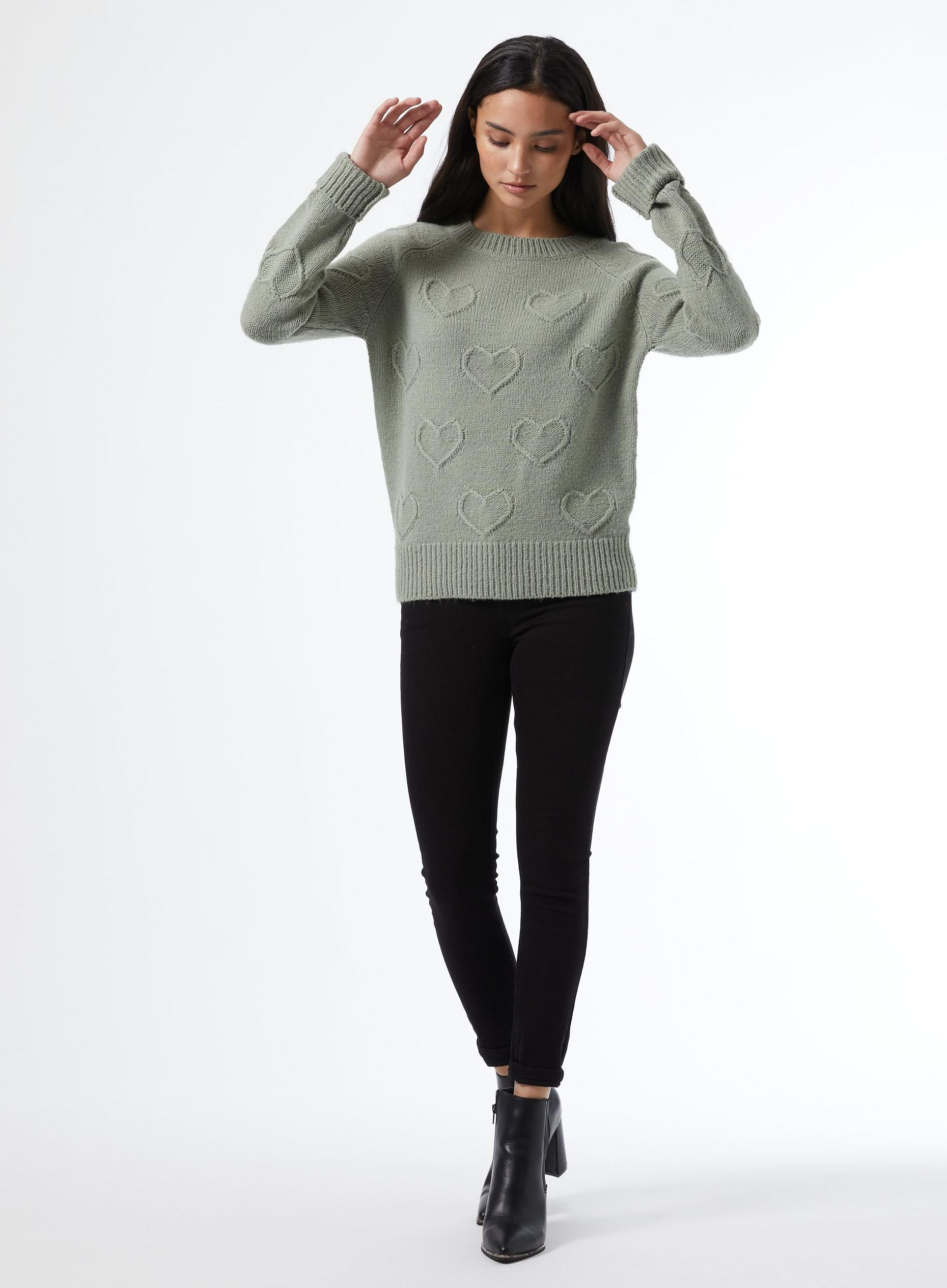 Petite Green Bobble Heart Jumper