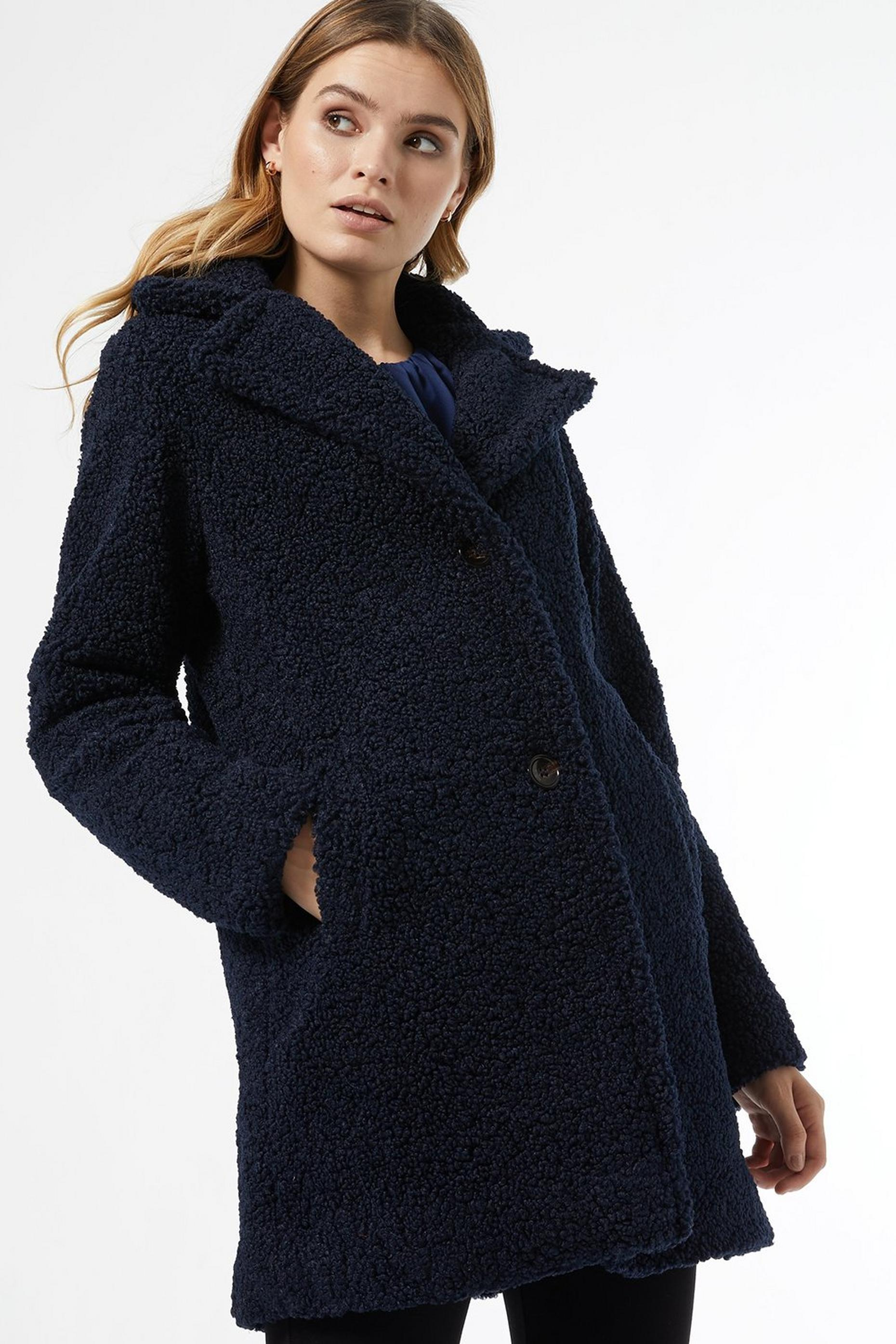 Navy Long Teddy Coat