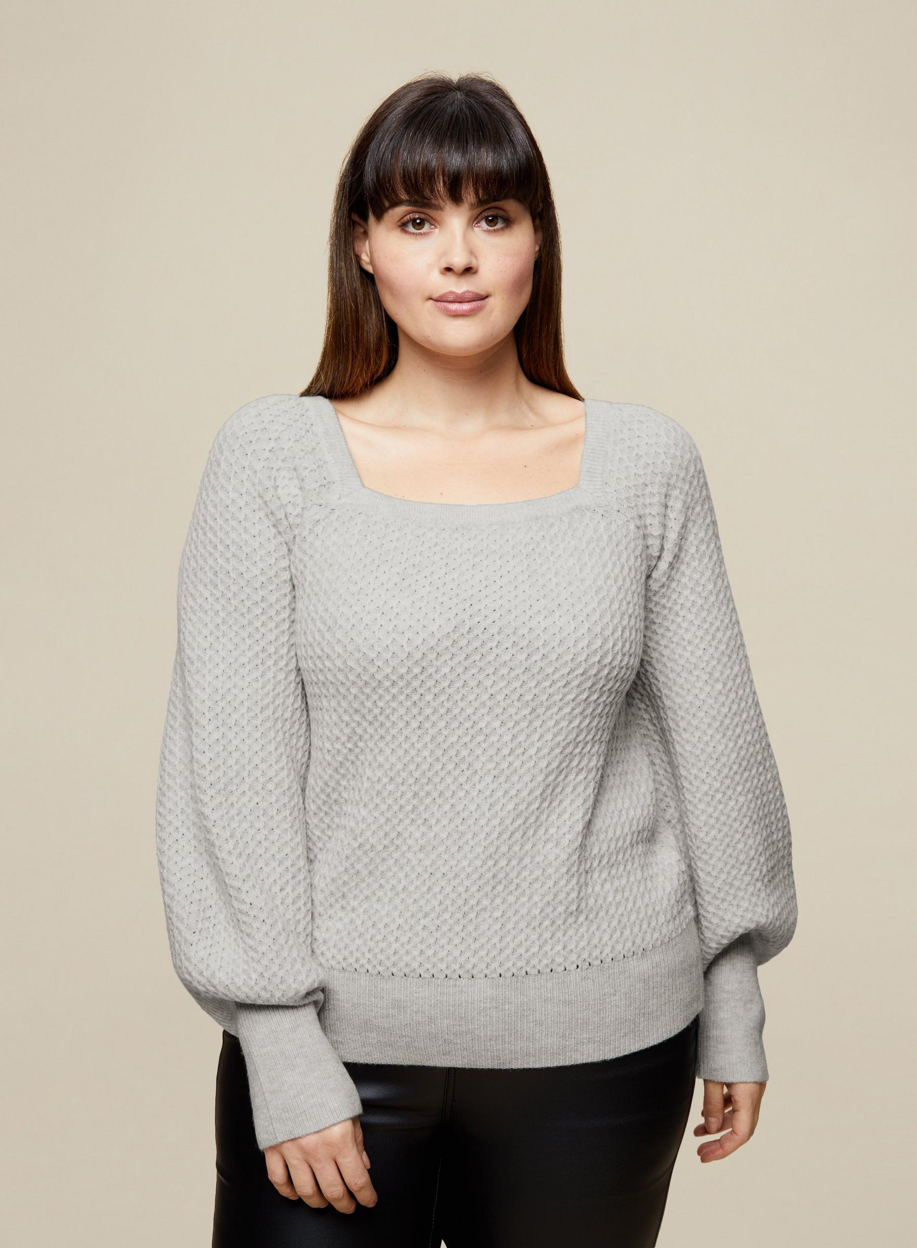 Curve Grey Knitted Square Neck Jumper