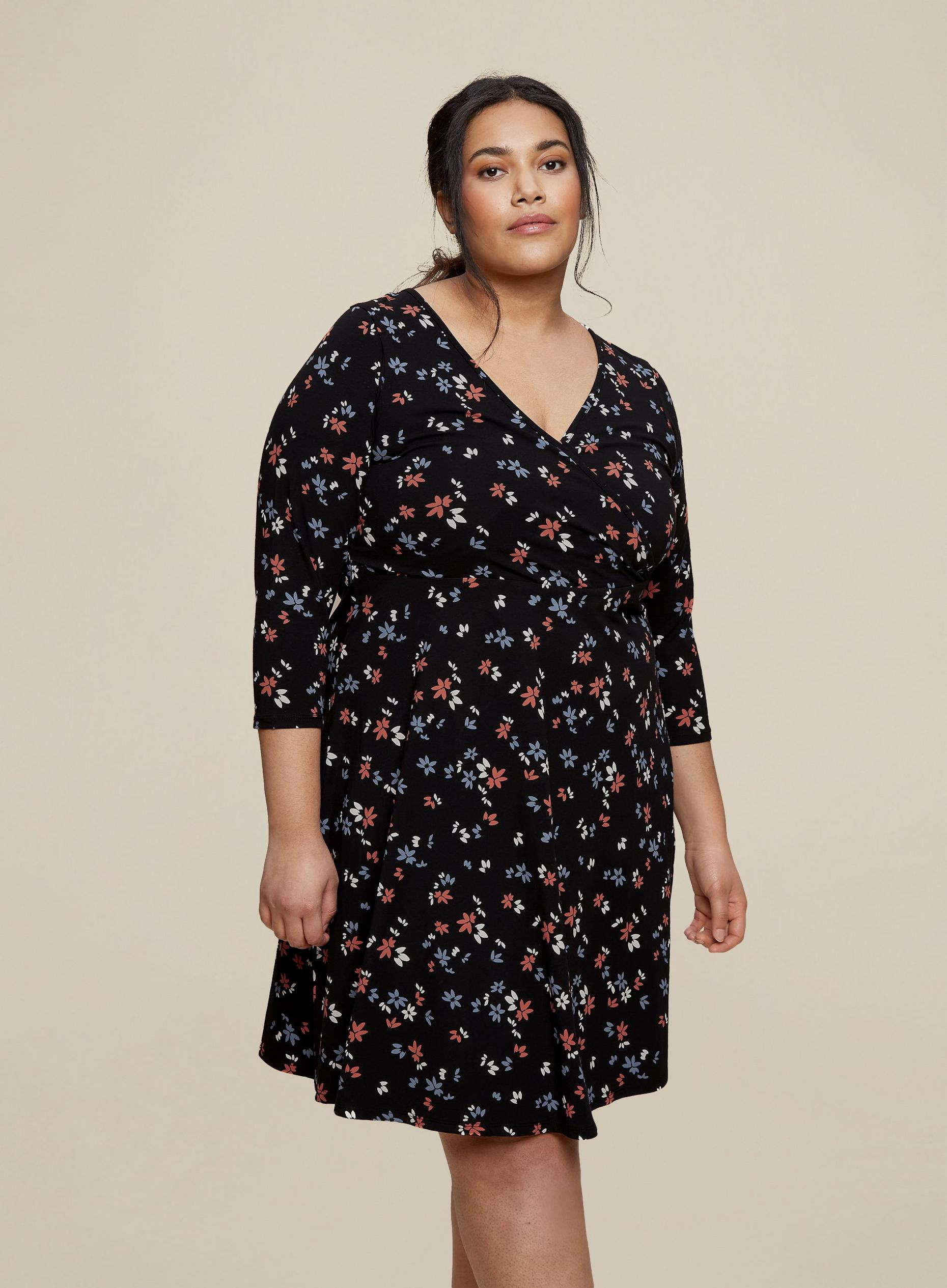 Curve Black Ditsy Print Wrap Dress