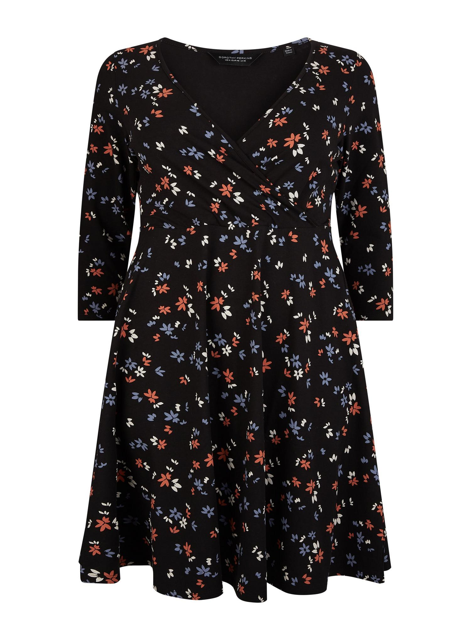 105 Curve Black Ditsy Print Wrap Dress image number 2