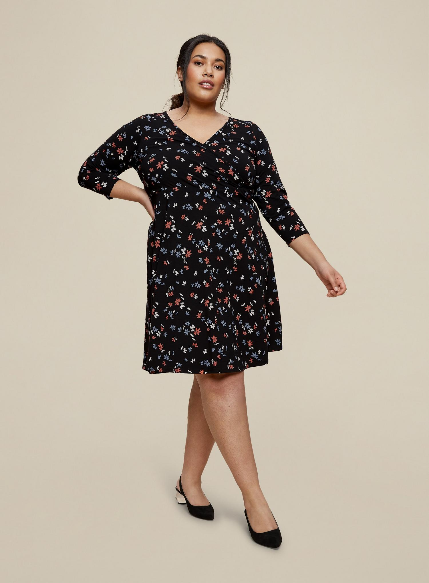 105 Curve Black Ditsy Print Wrap Dress image number 3
