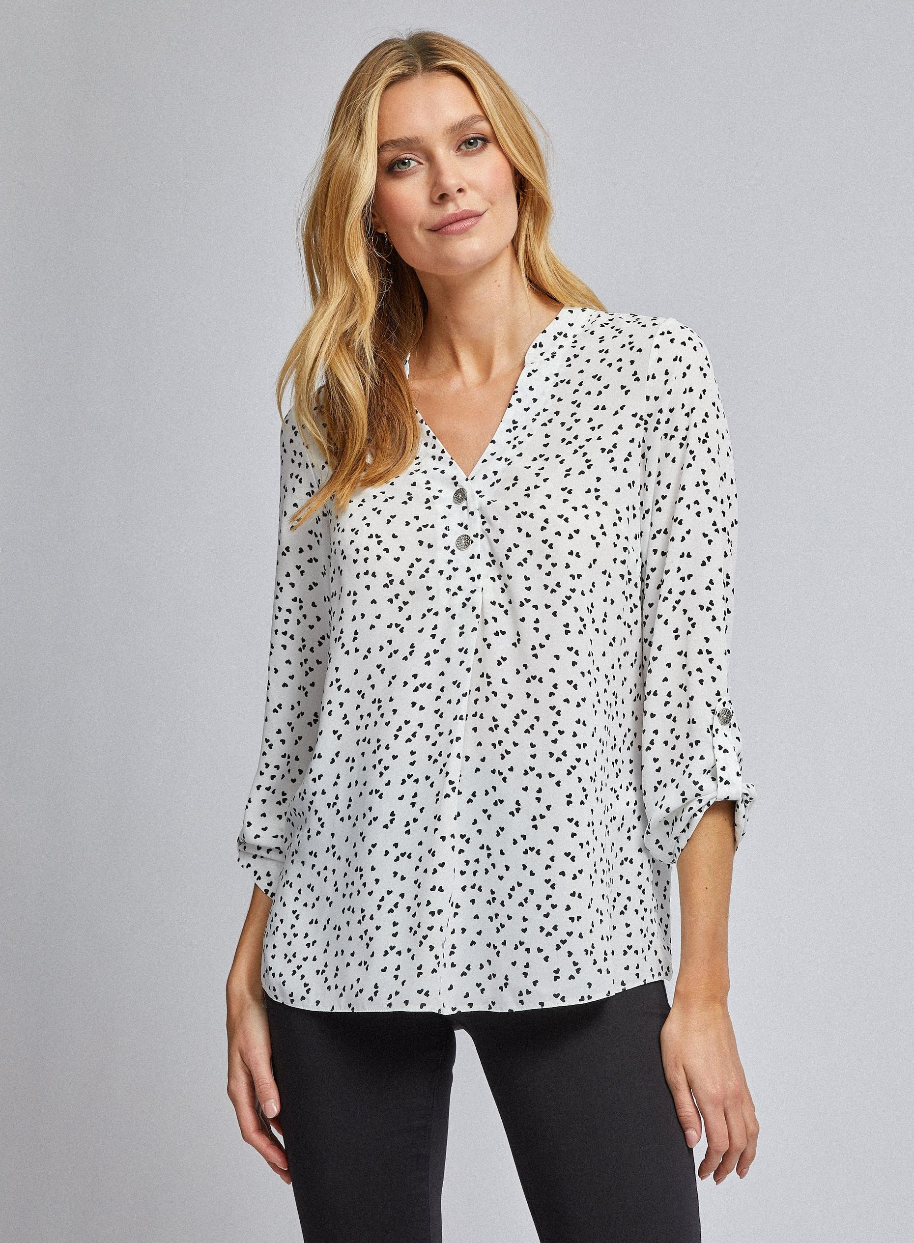 Ivory Heart Print 2 Button Roll Sleeve Top