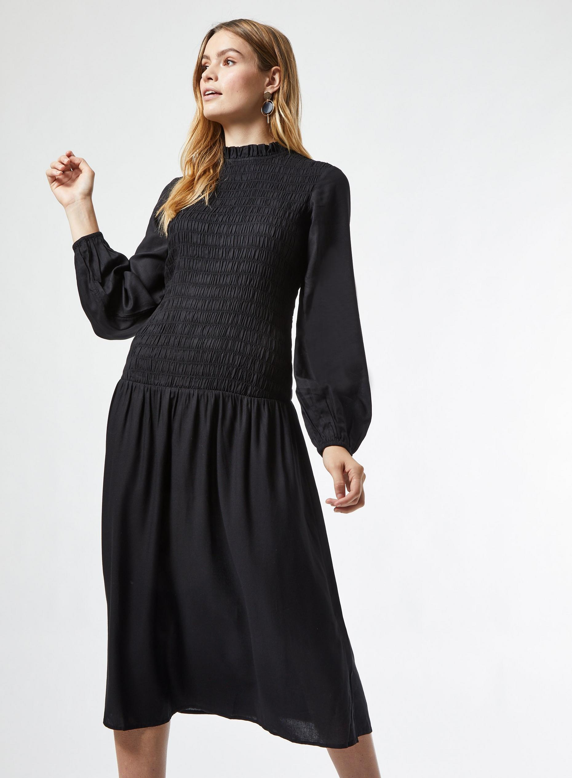 Black Shirred Midi Dress