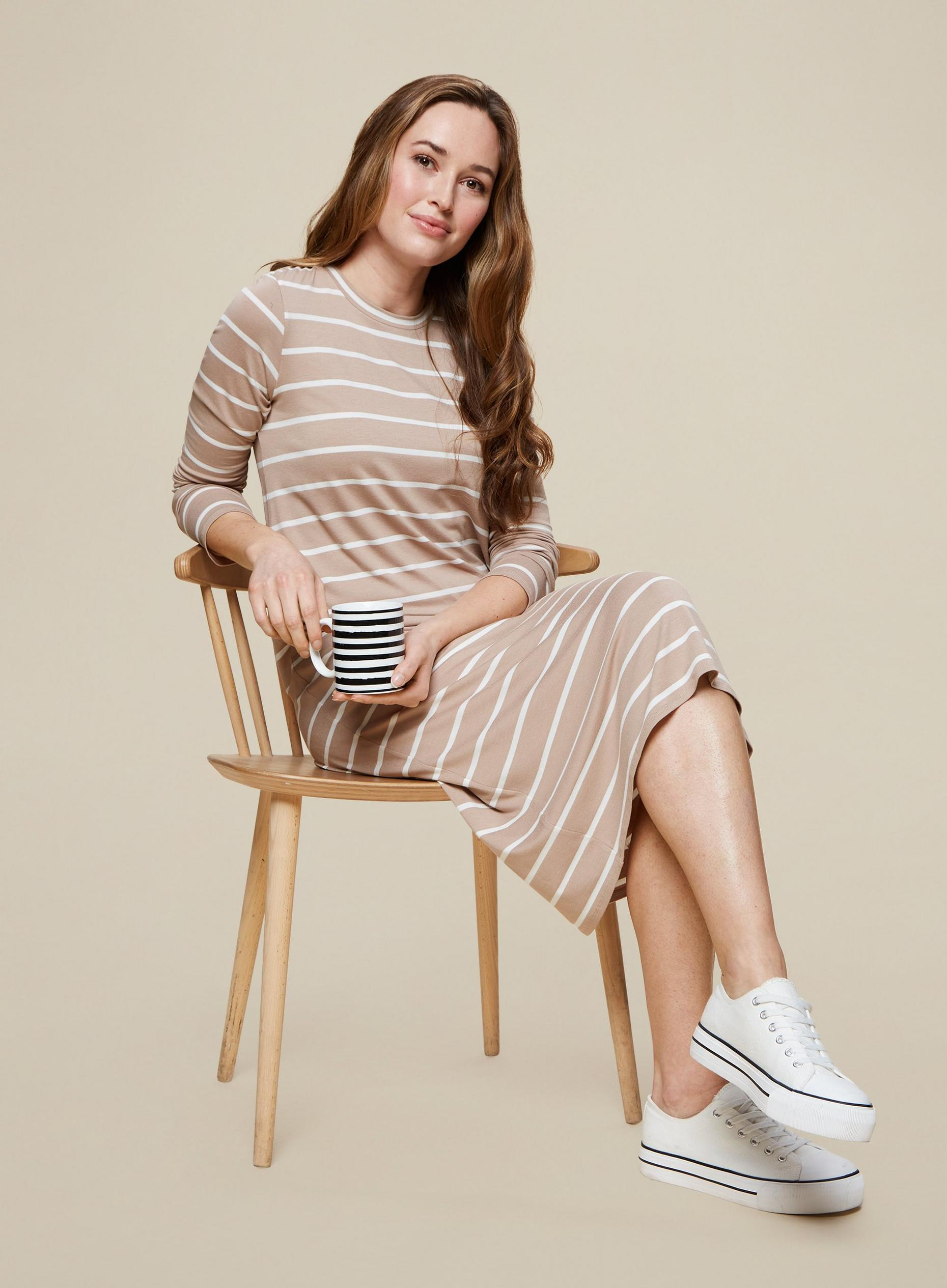 Camel Stripe Print Jersey Midi Dress
