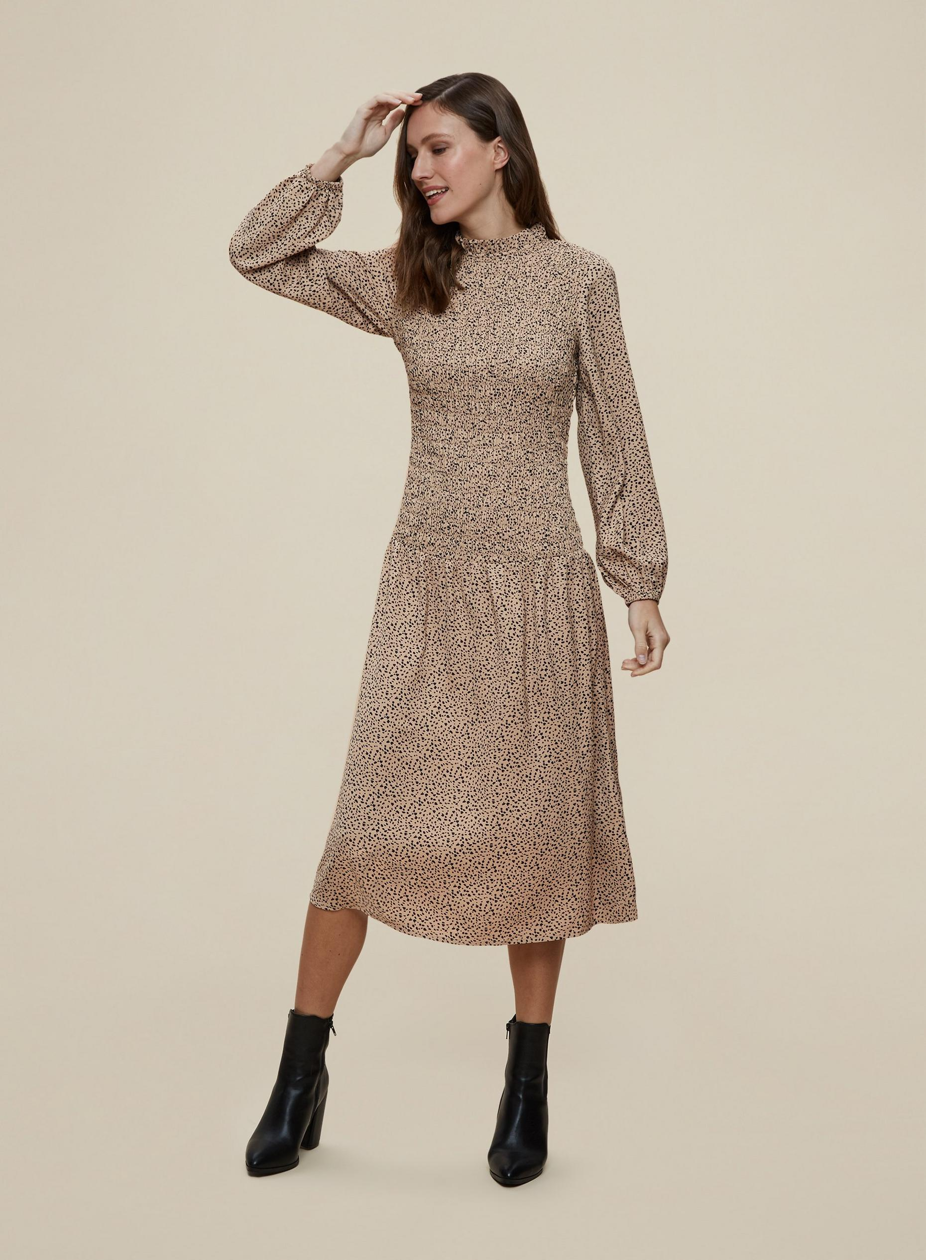 Beige Non Print Midaxi Dress