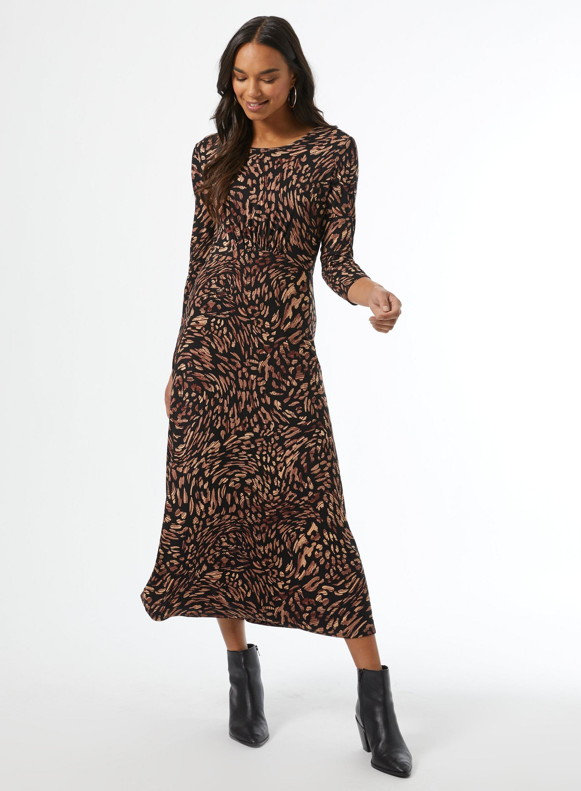 Black Non Print Jersey Midi Dress
