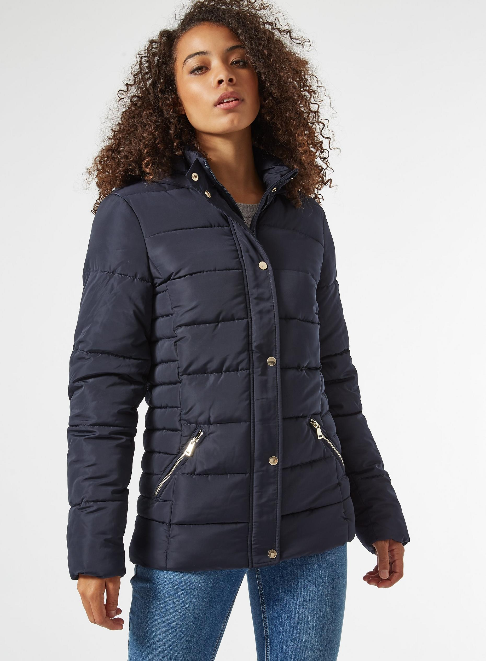 Tall Navy Padded Hooded Coat