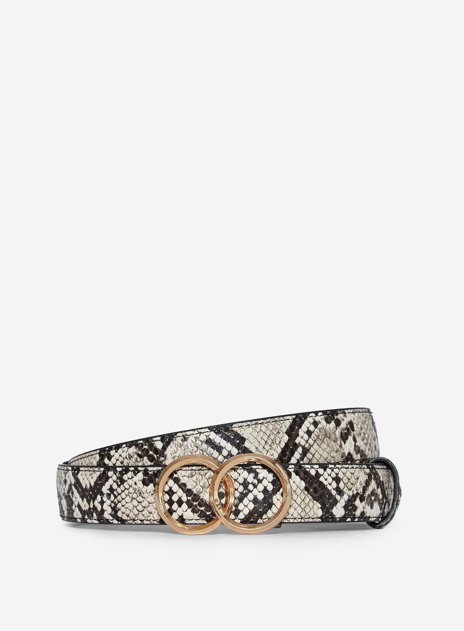 109 Multi Colour Snake Print Double Circle Belt image number 1