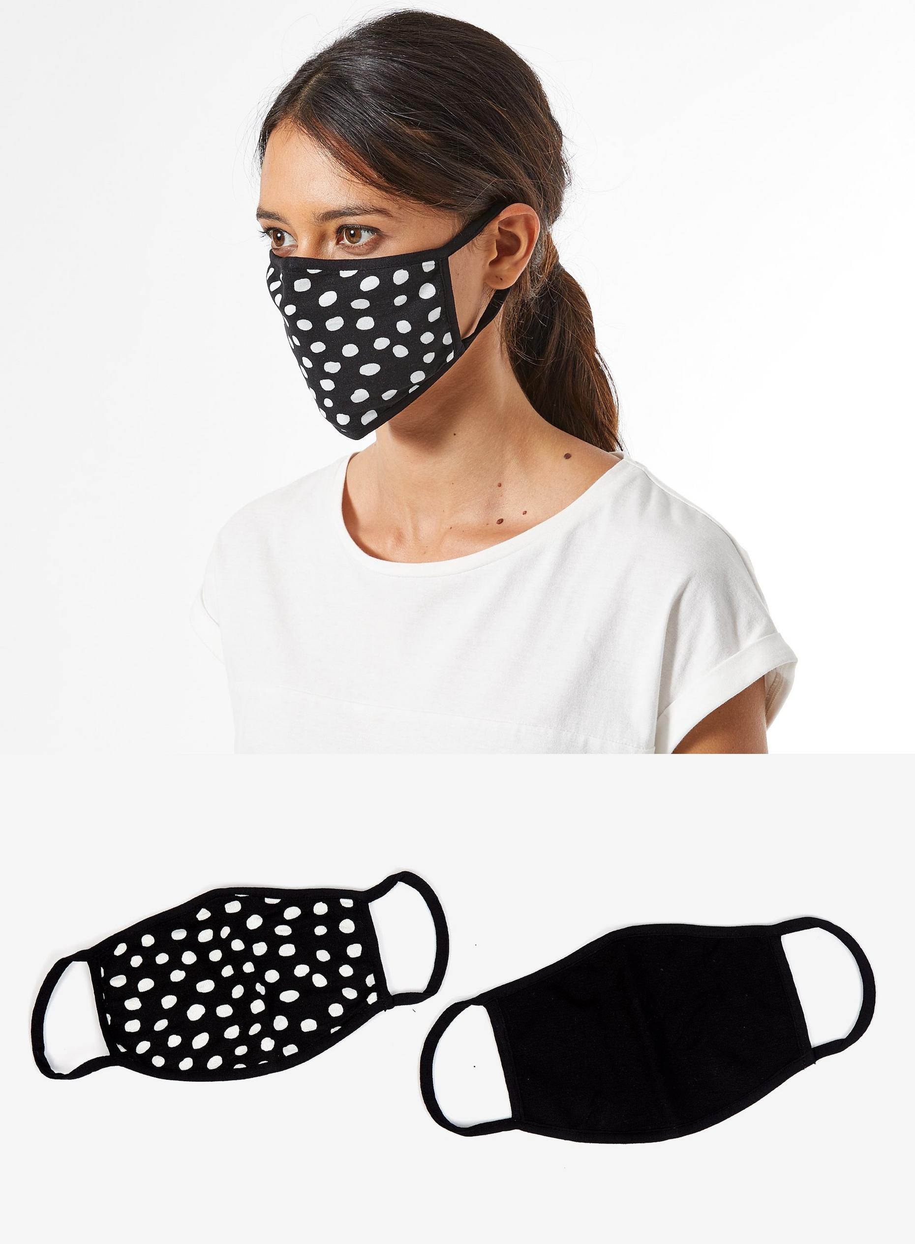 Black spot two pack face covering