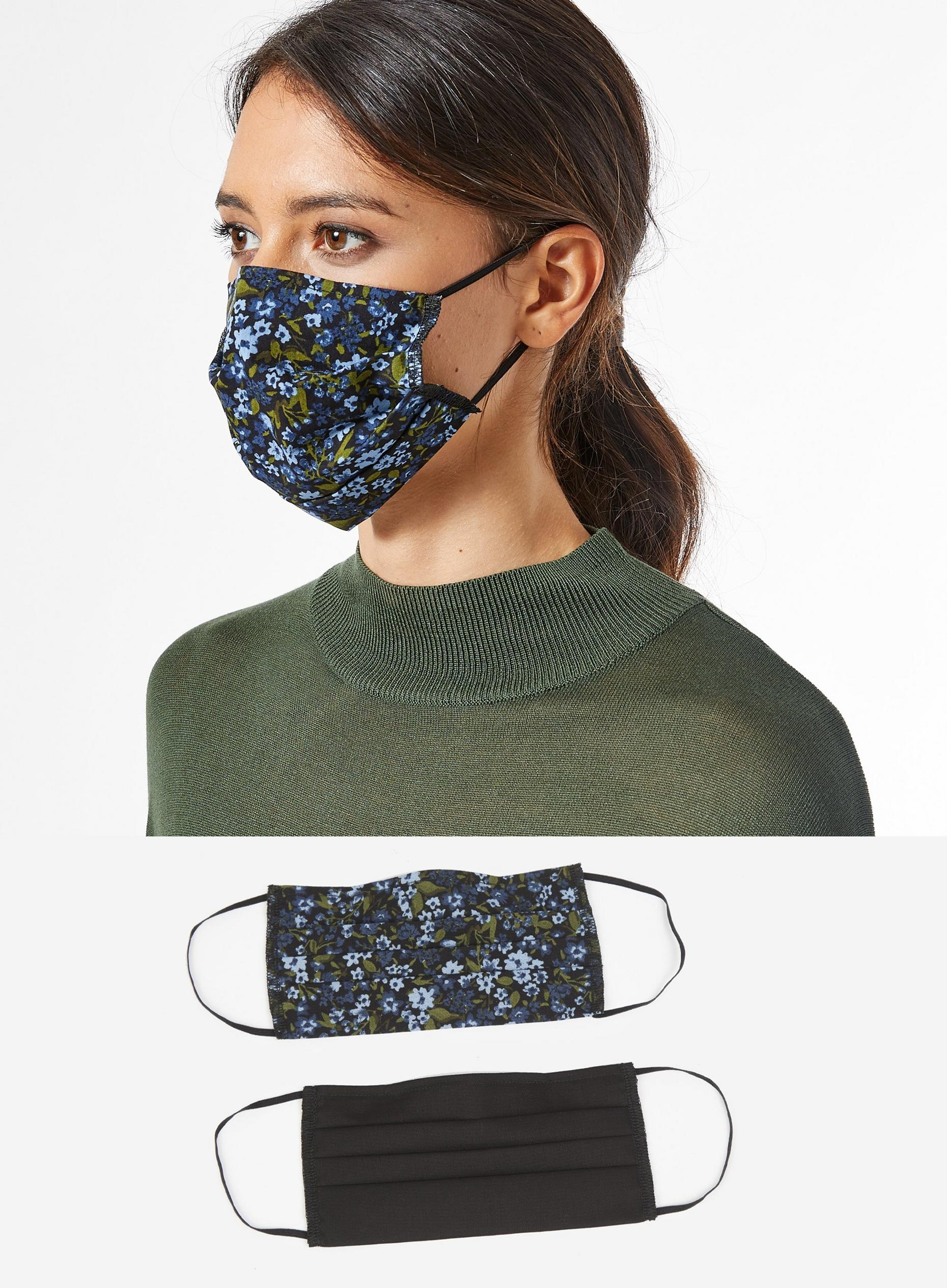 Navy Floral 2 Pack Face Covering