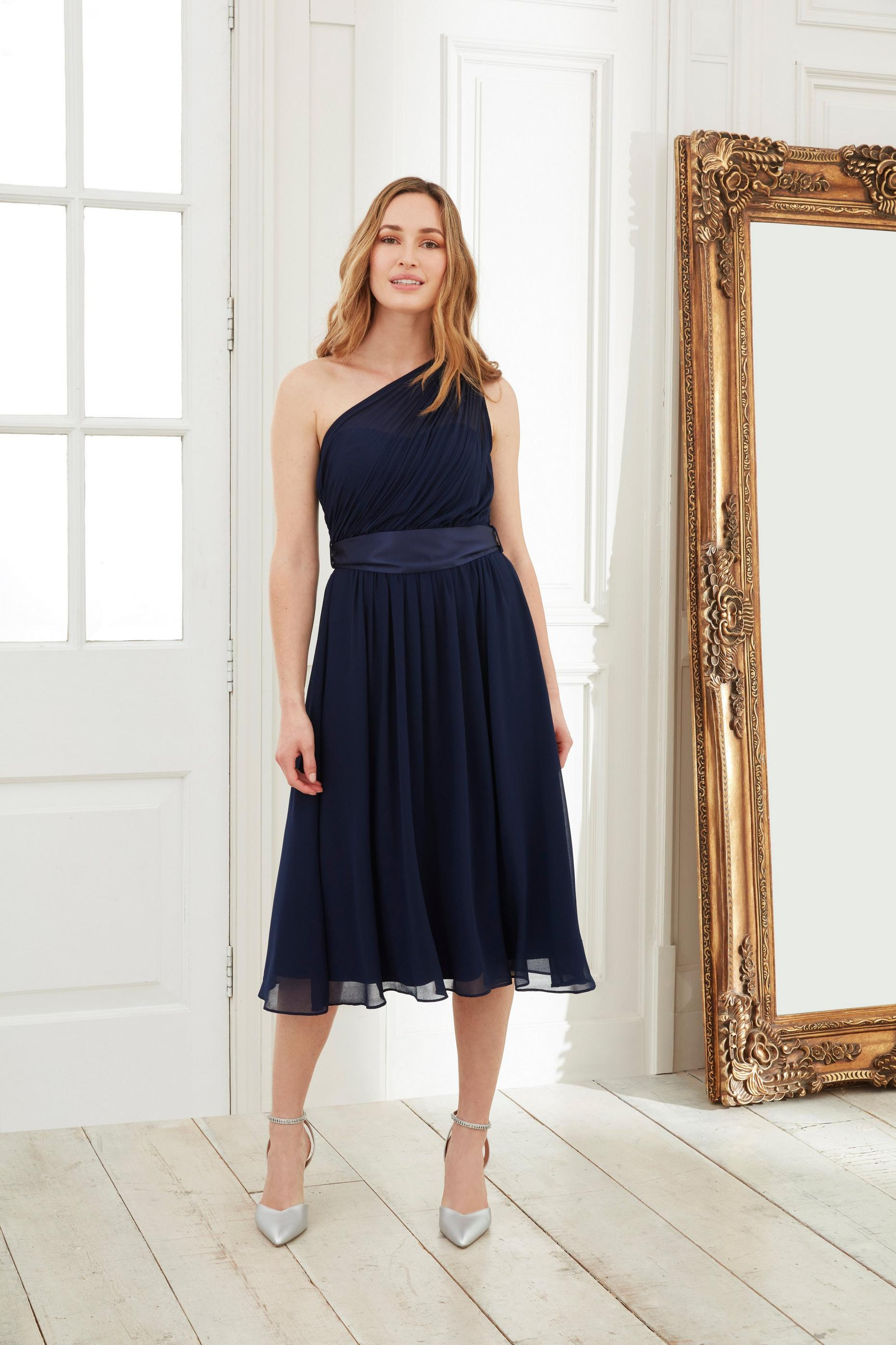 Navy Jenny Midi Skater Dress