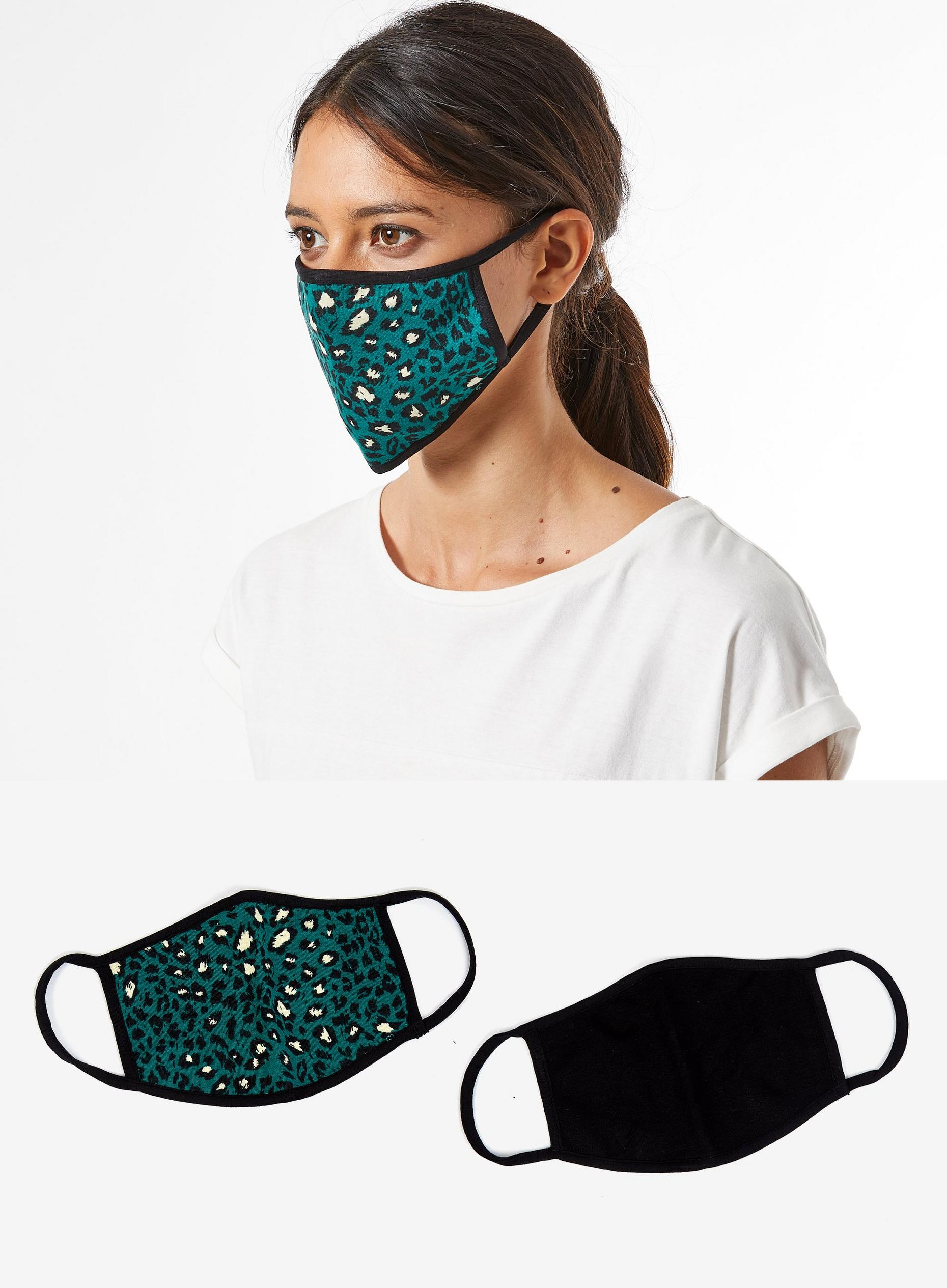 GREEN ANIMAL TWO PACK FACE COVERING