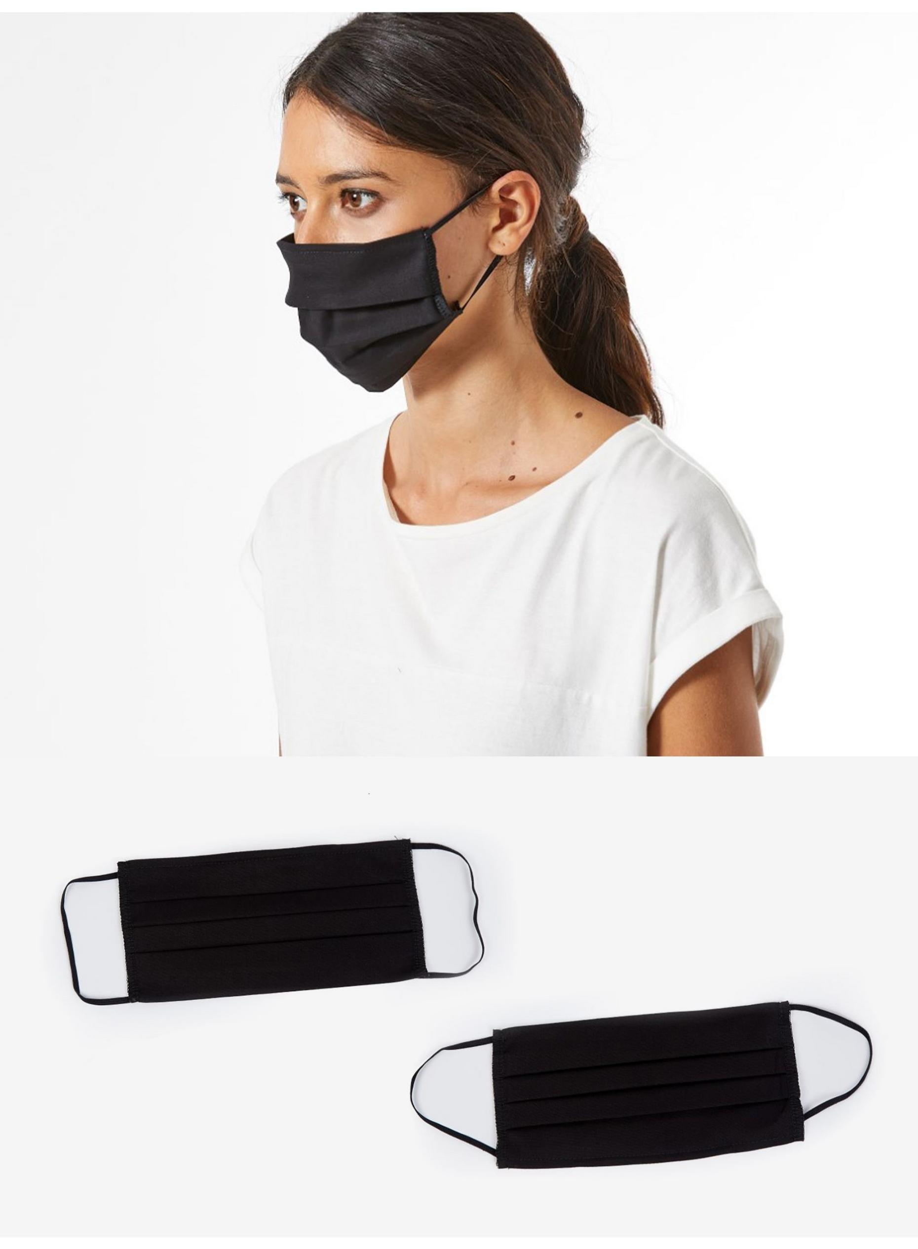 Plain Black 2 Pack Reusable Face Coverings