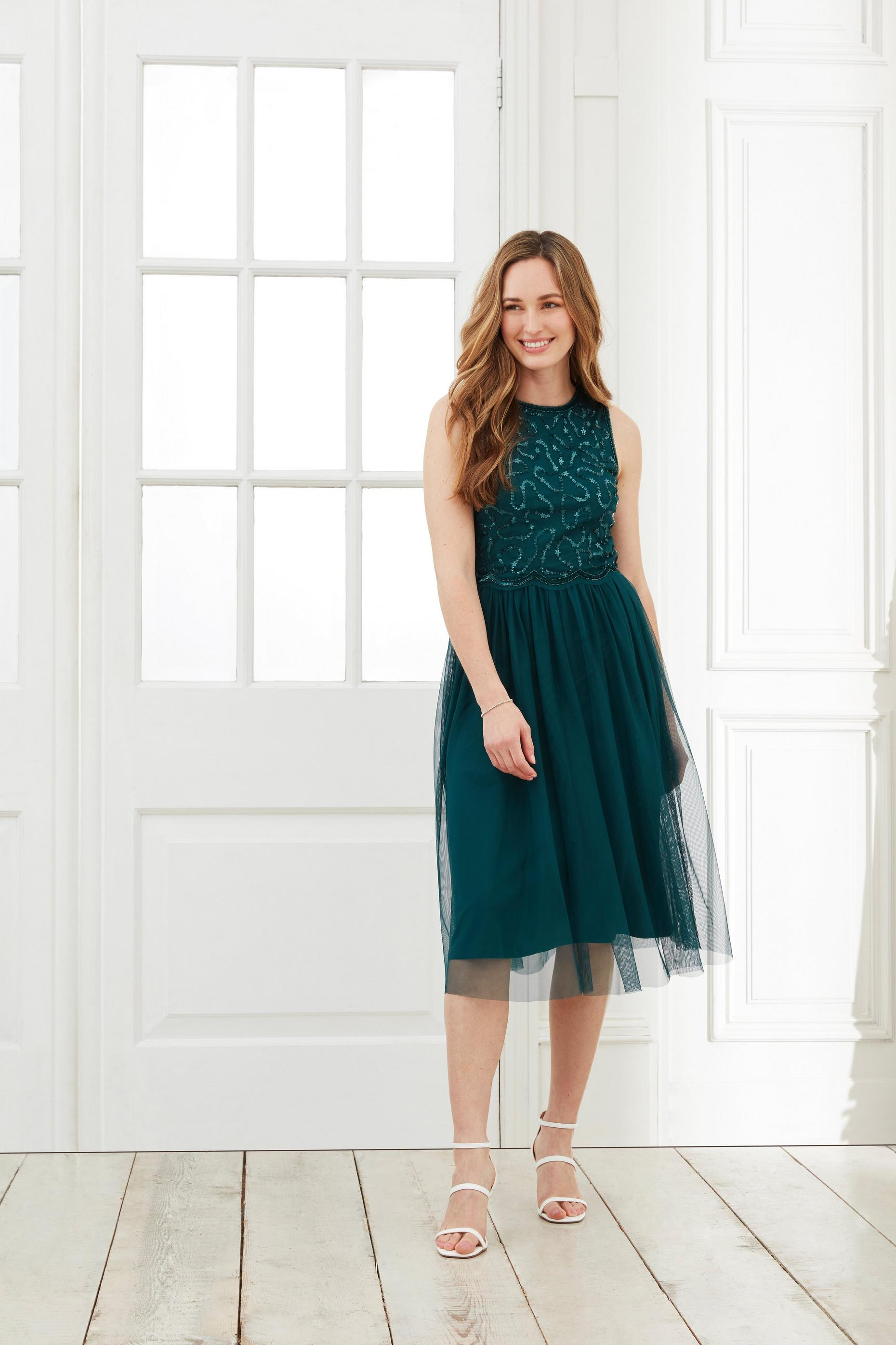 Green Embellished Midi Dress