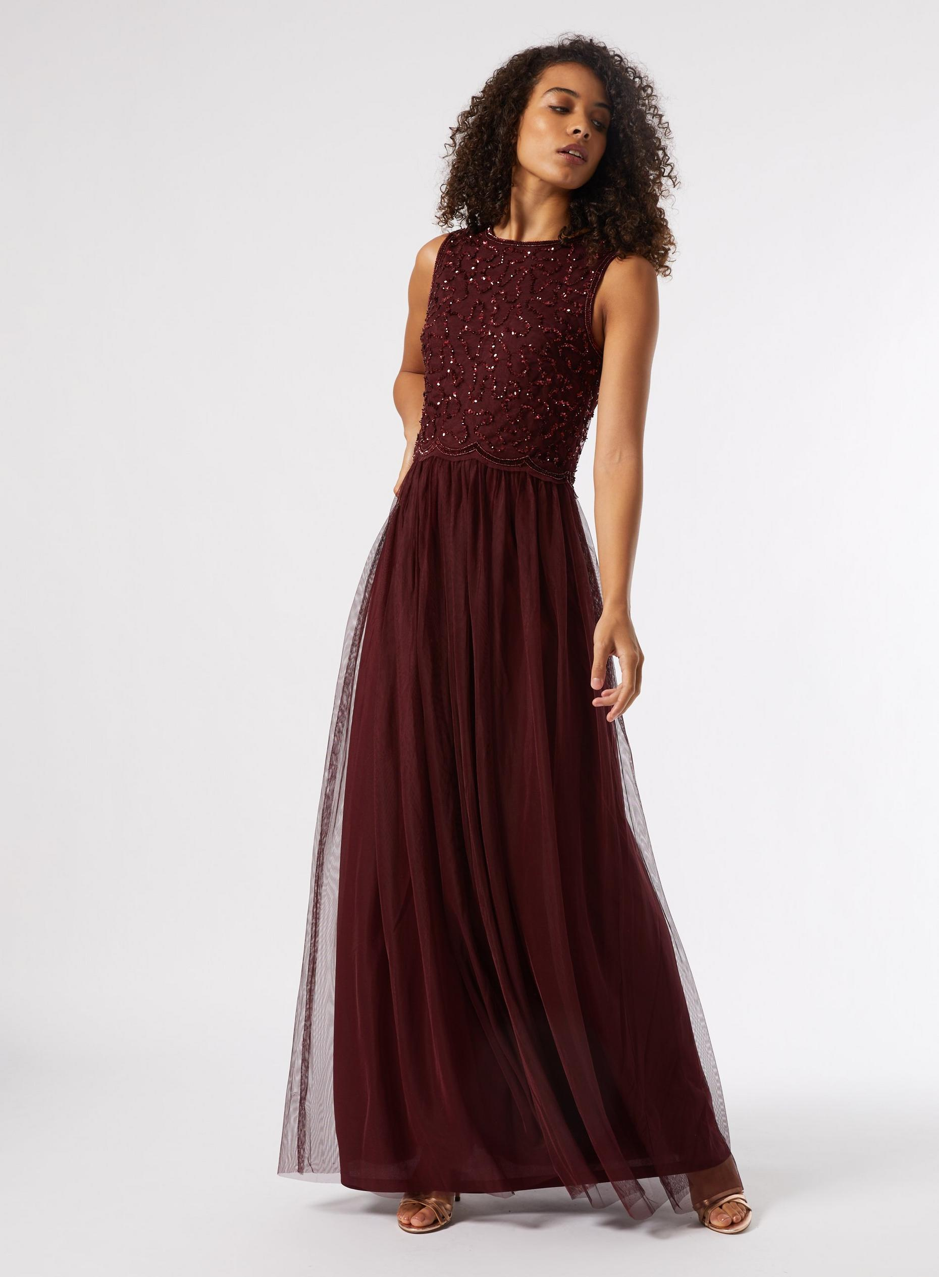 Tall Burgundy Embellished Tulle Maxi Dress