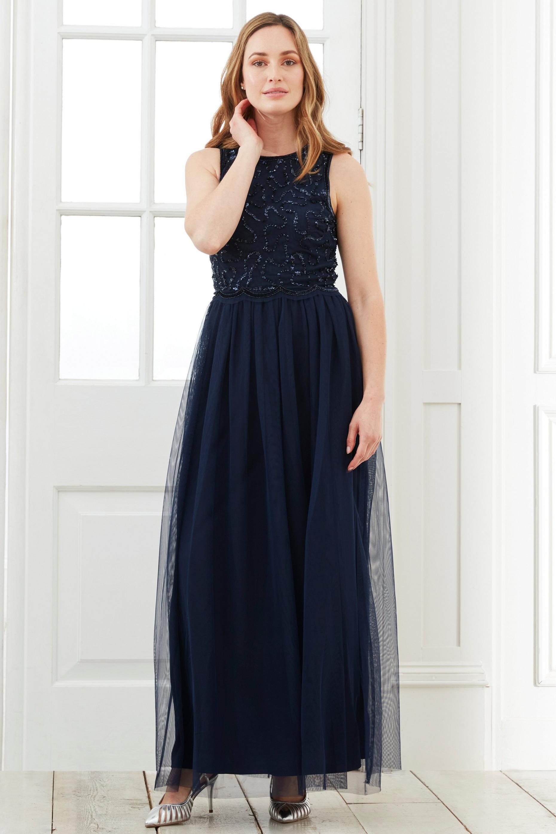 Blue Embellished Maxi Dress