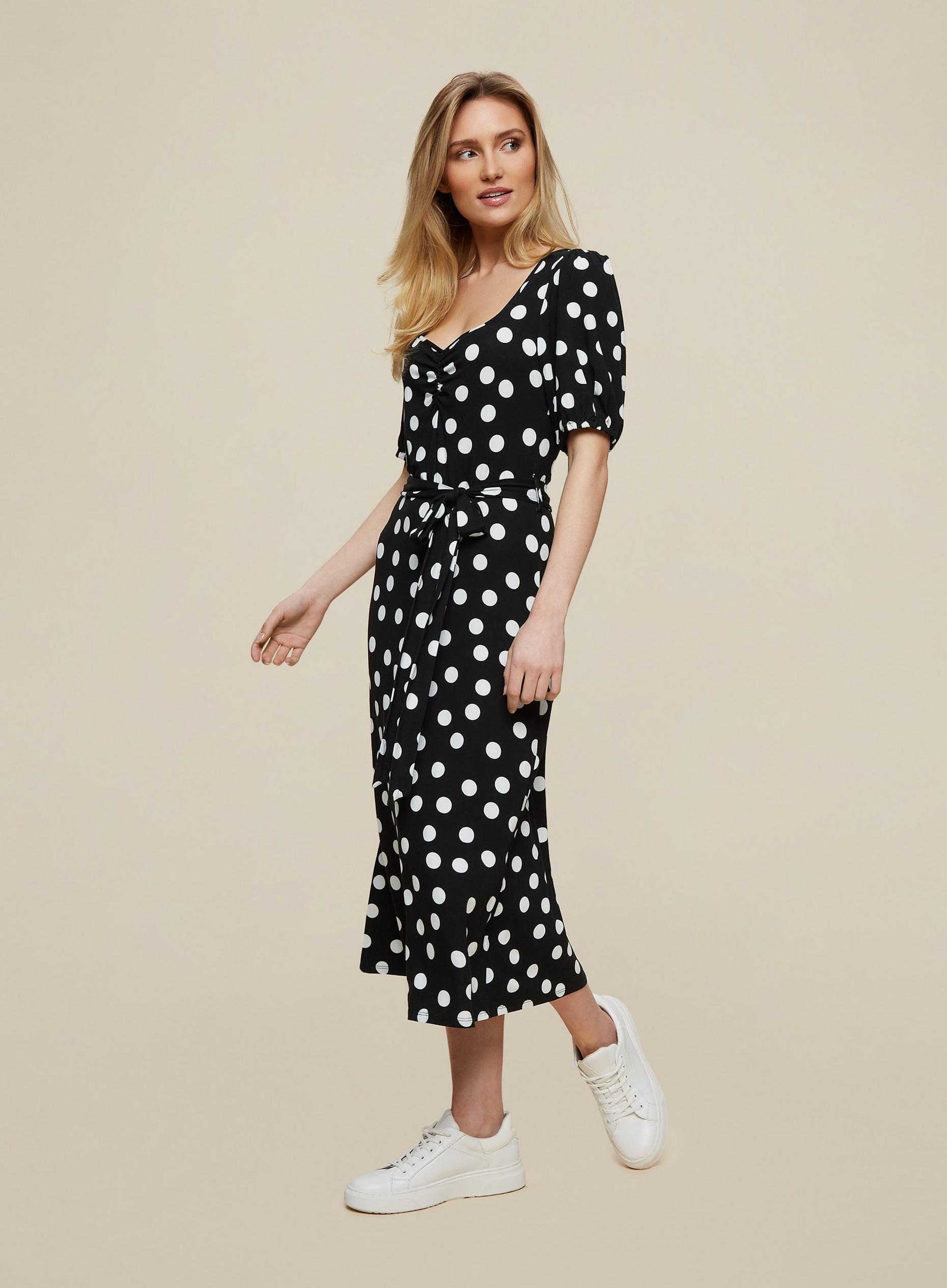 Monochrome Spot Print Midi Dress